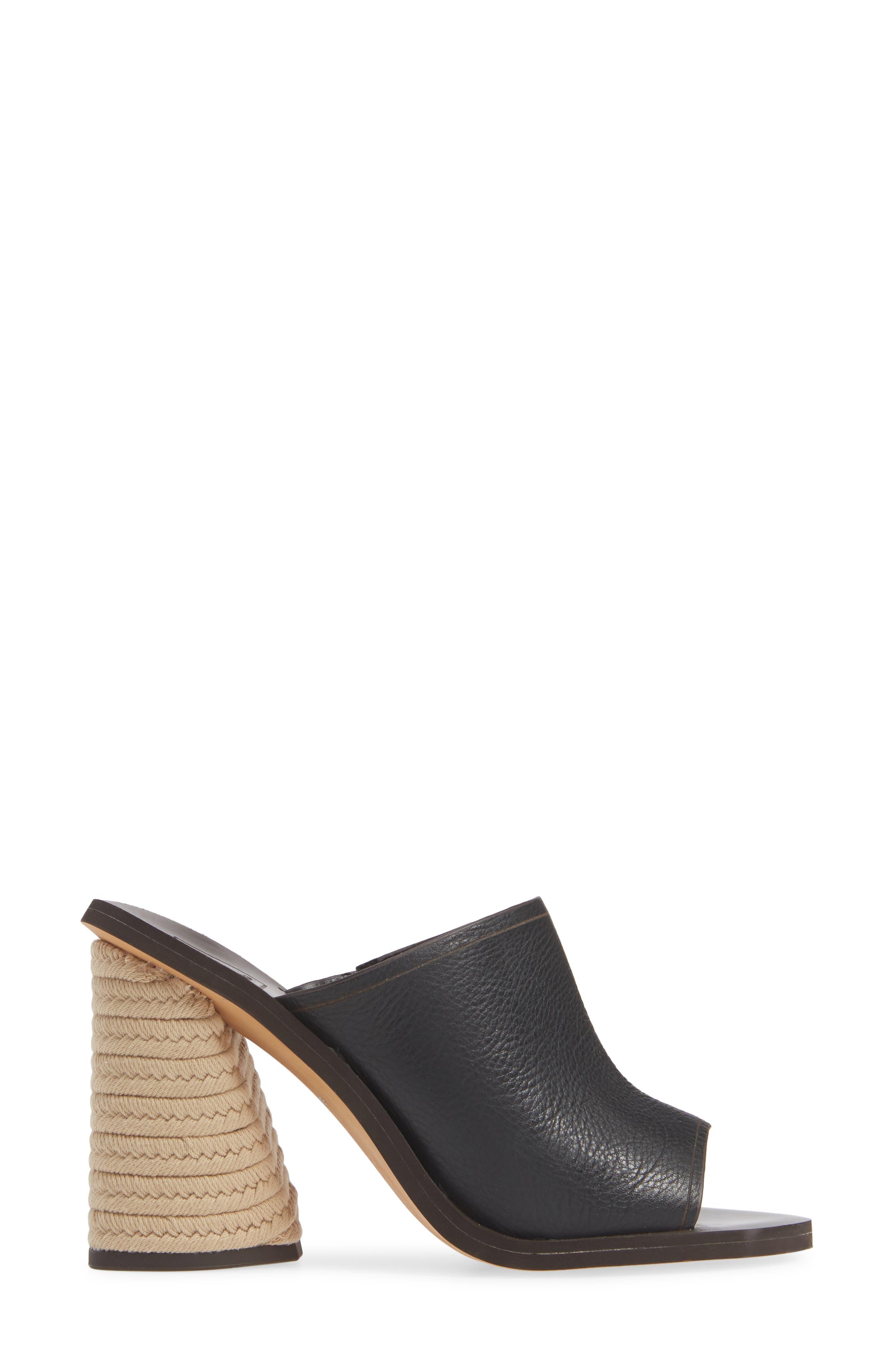 DOLCE VITA, Alba Braided Heel Mule Sandal, Alternate thumbnail 3, color, BLACK LEATHER