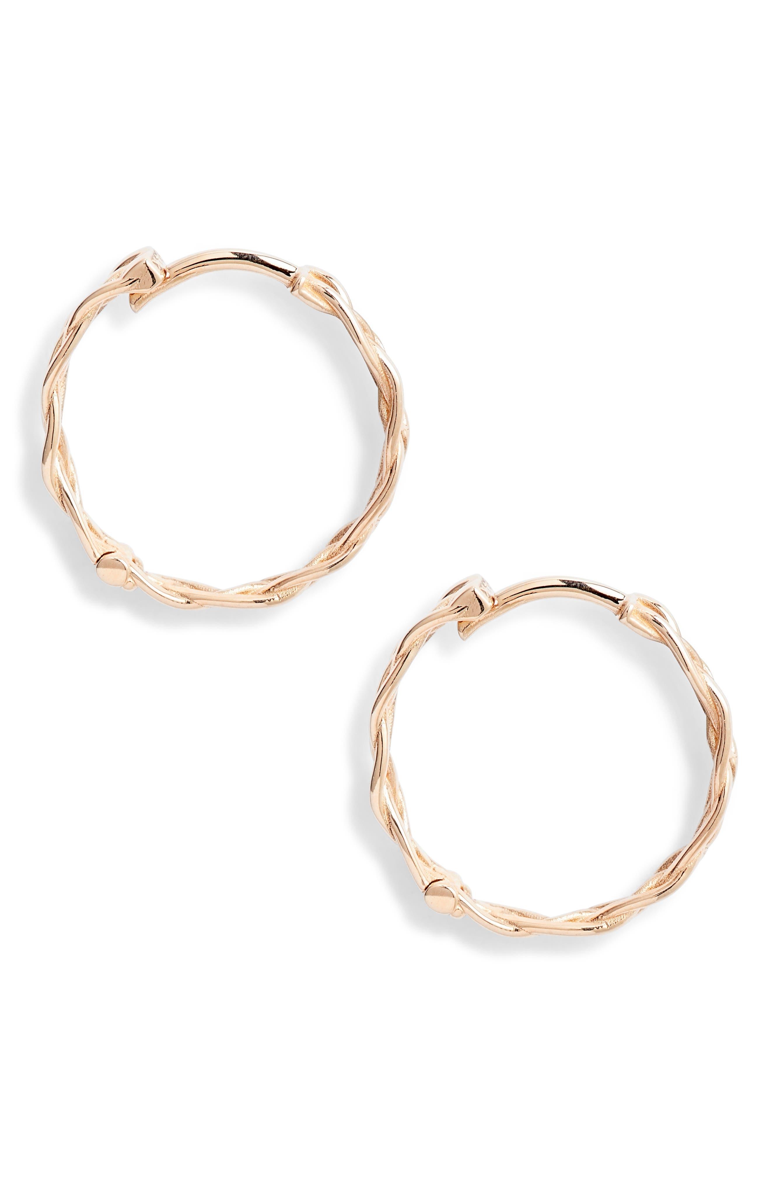 KISMET BY MILKA, Large Braided Hoop Earrings, Main thumbnail 1, color, ROSE GOLD