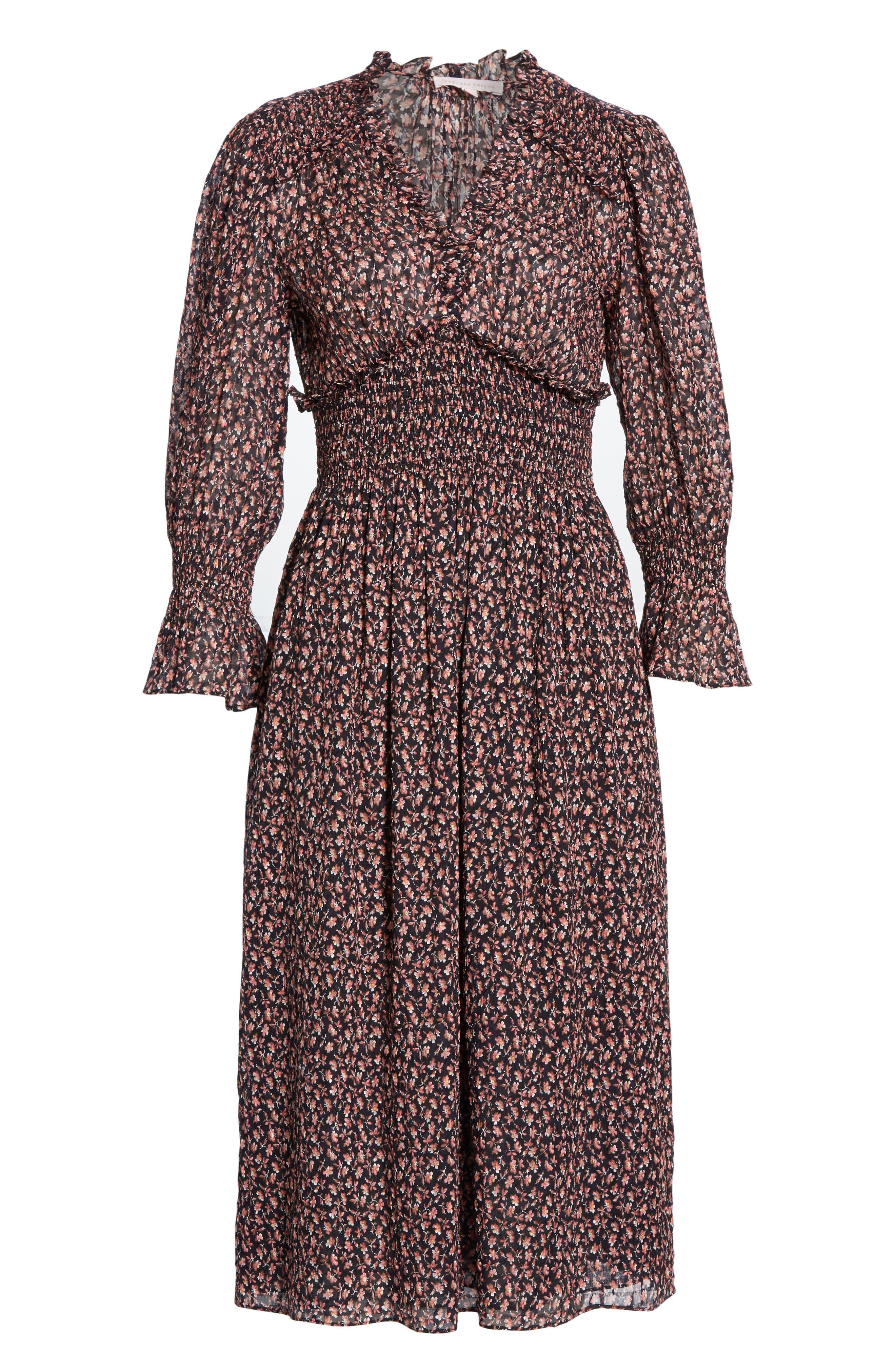 REBECCA TAYLOR, Floral Smock Detail Long Sleeve Silk & Cotton Dress, Alternate thumbnail 6, color, NAVY COMBO