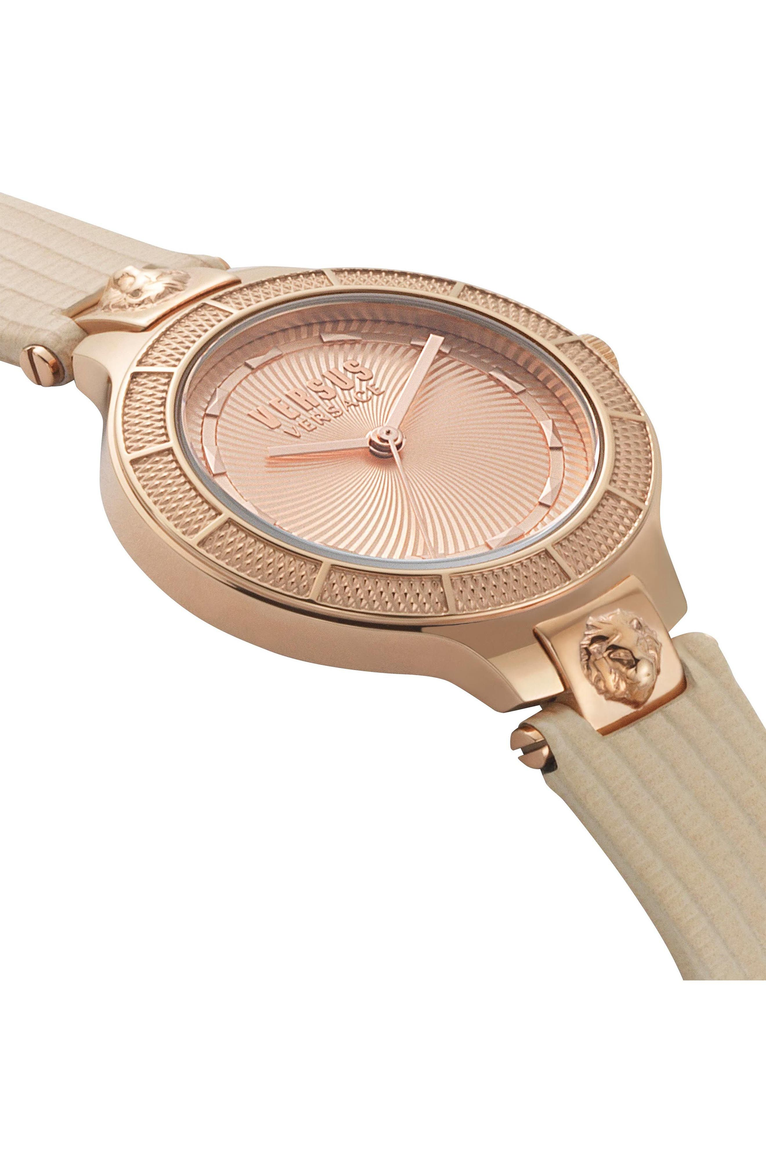 VERSUS VERSACE, Claremont Leather Strap Watch, 32mm, Alternate thumbnail 3, color, PINK/ ROSE GOLD