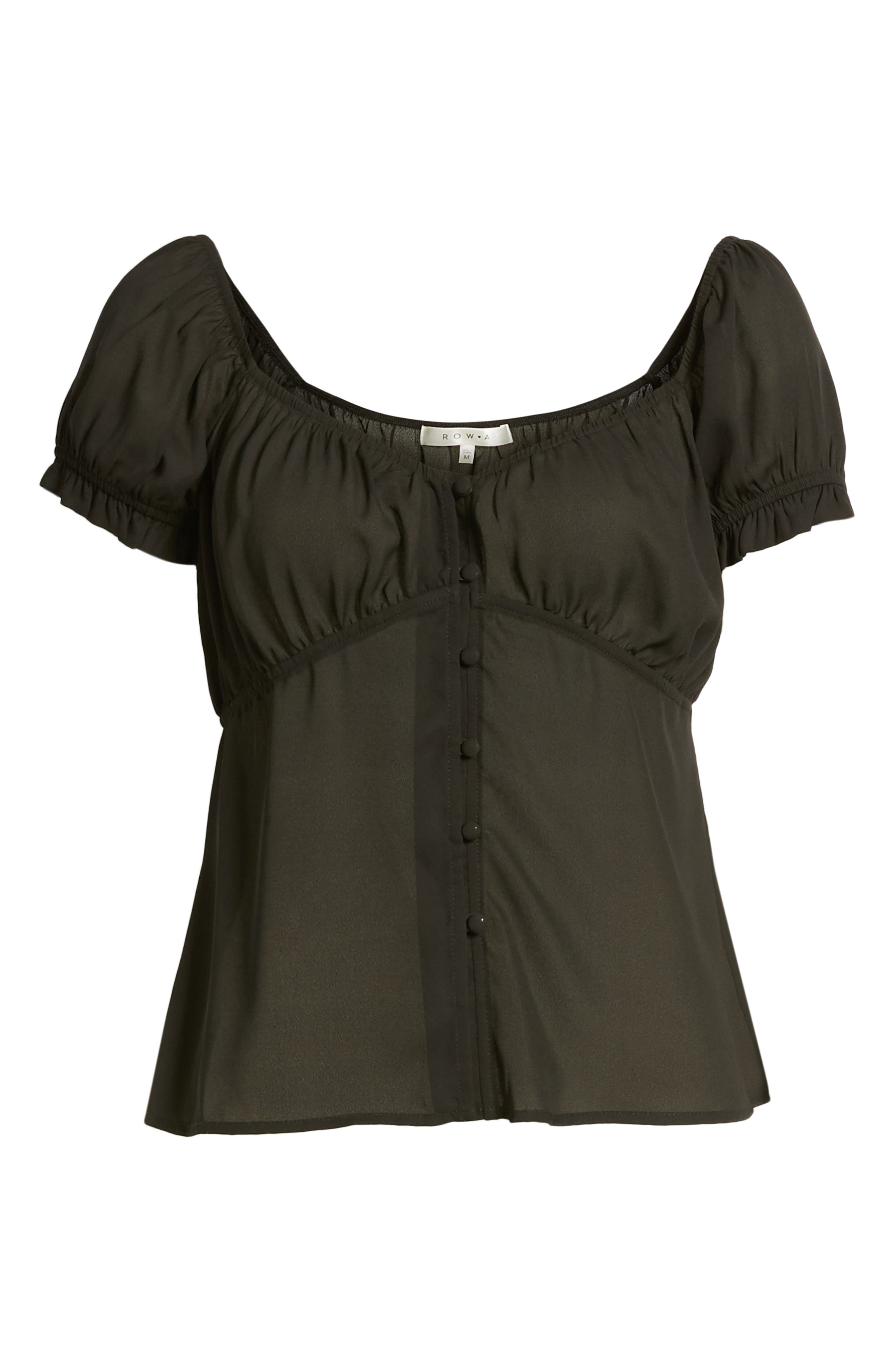ROW A, Cap Sleeve Top, Alternate thumbnail 6, color, BLACK SOLID