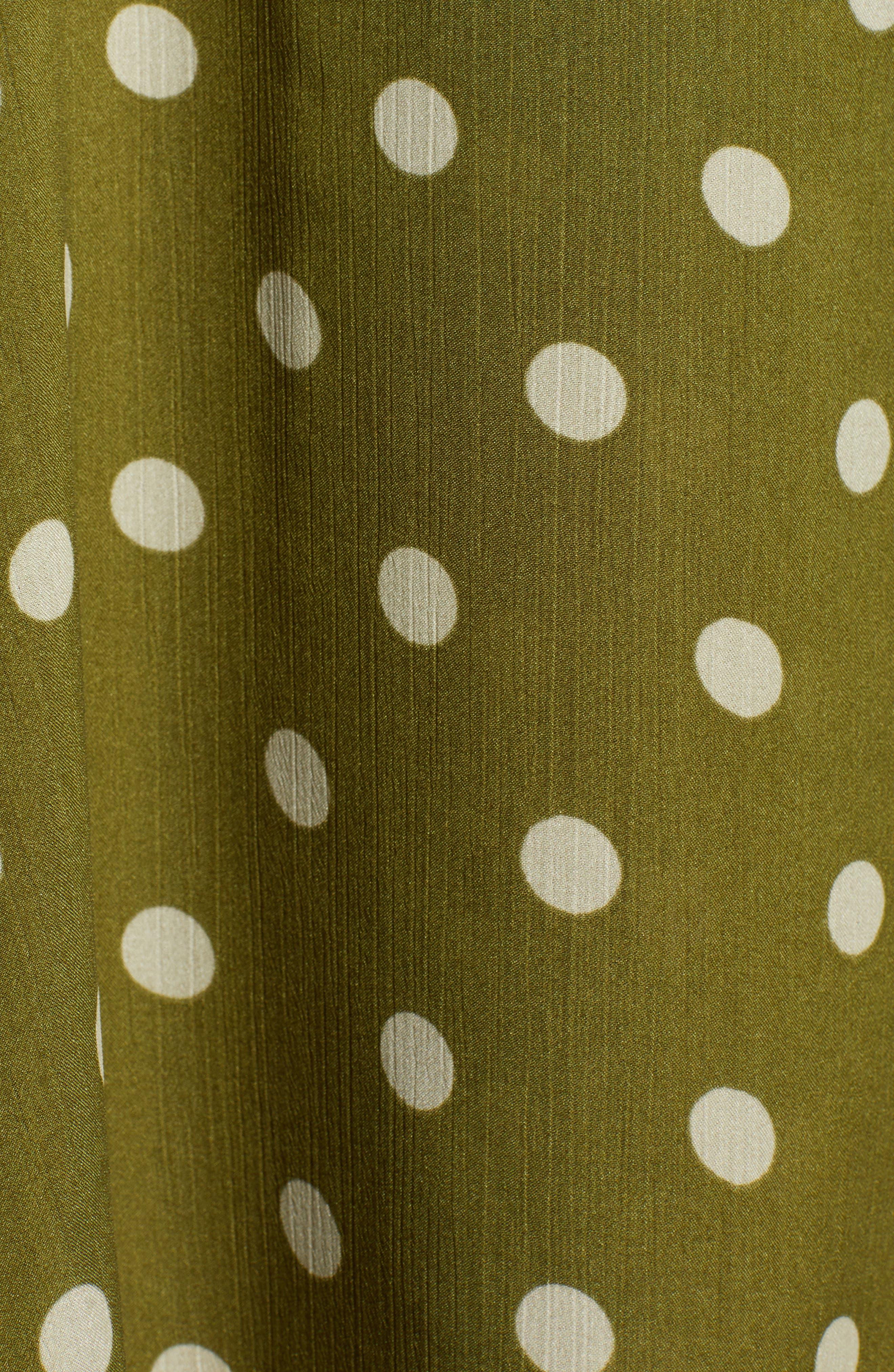 CHRISELLE LIM COLLECTION, Chriselle Lim Marie Handkerchief Hem Midi Dress, Alternate thumbnail 6, color, CREAM/ OLIVE