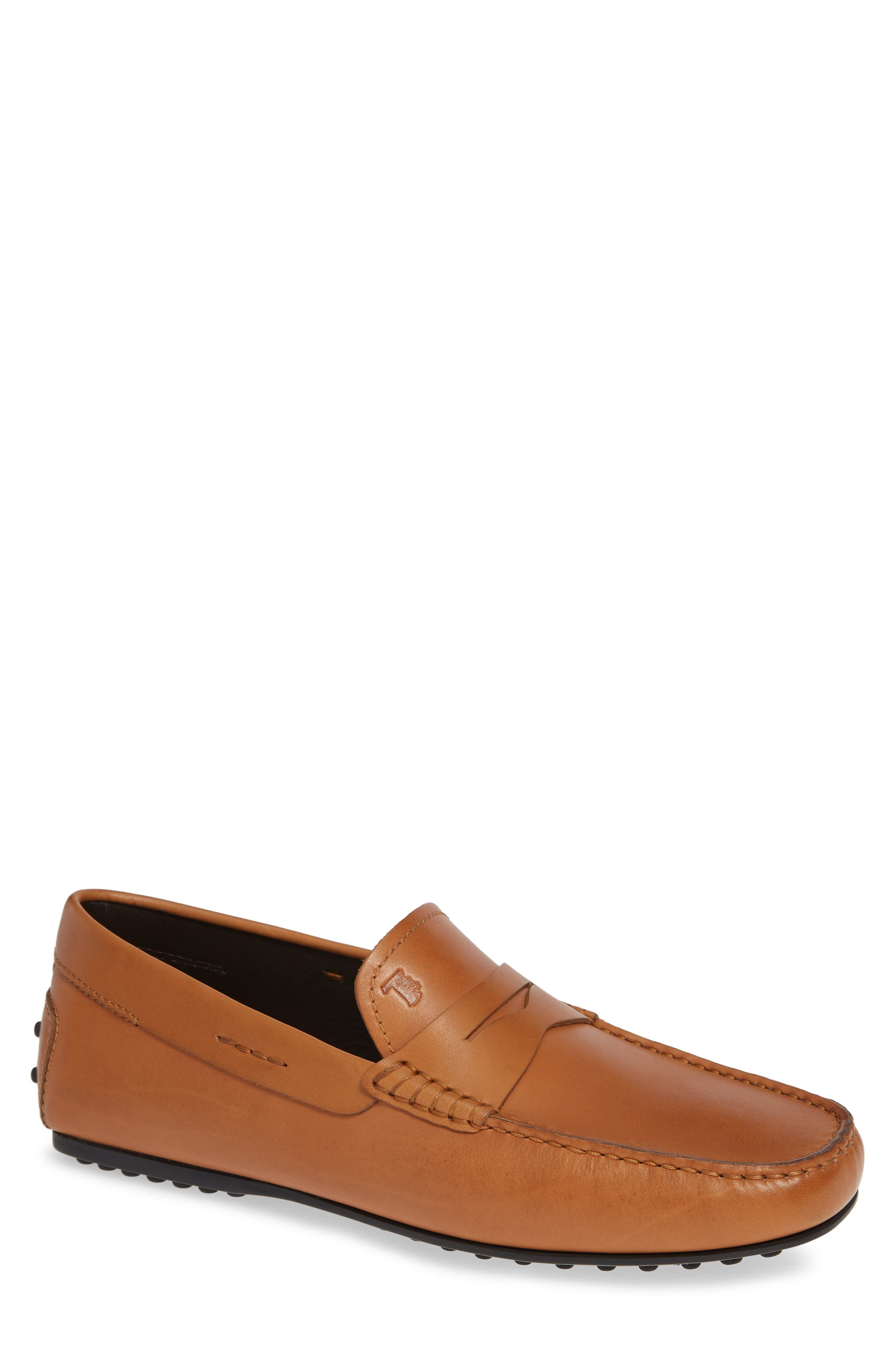 TOD'S 'City' Penny Driving Shoe, Main, color, BROWN/BROWN
