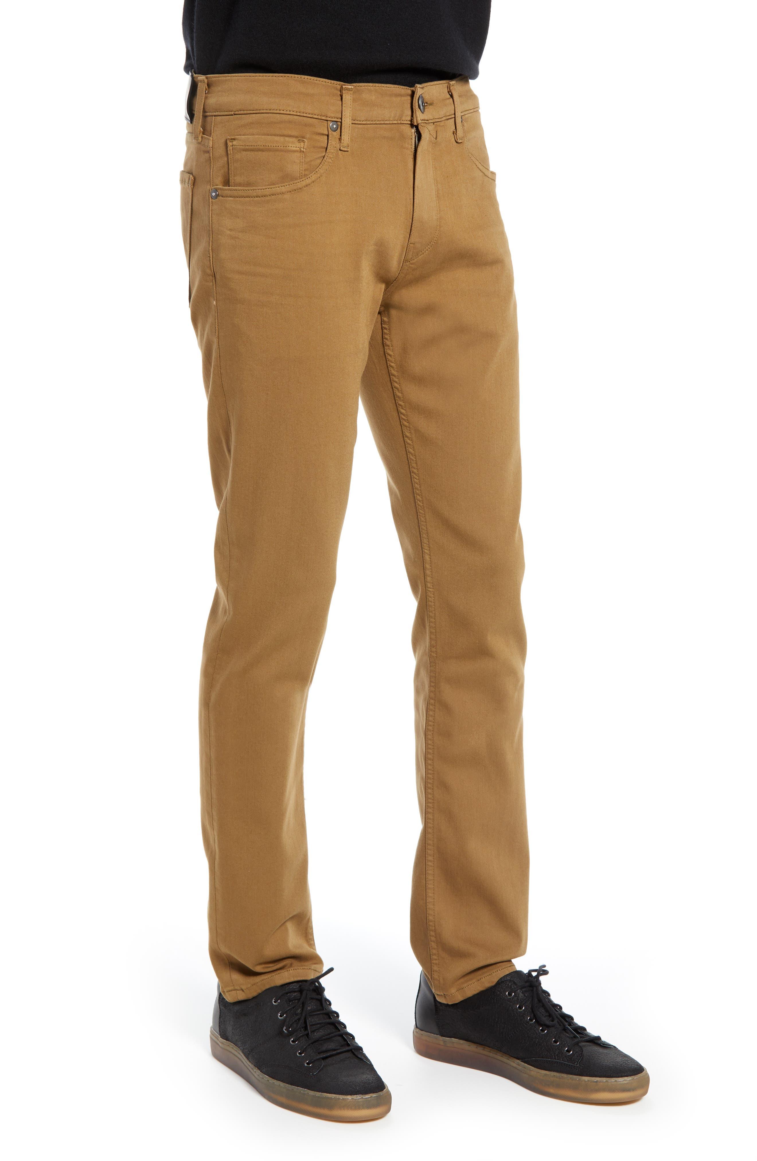 PAIGE, Transcend - Federal Slim Straight Leg Jeans, Alternate thumbnail 3, color, LAUREL TAN
