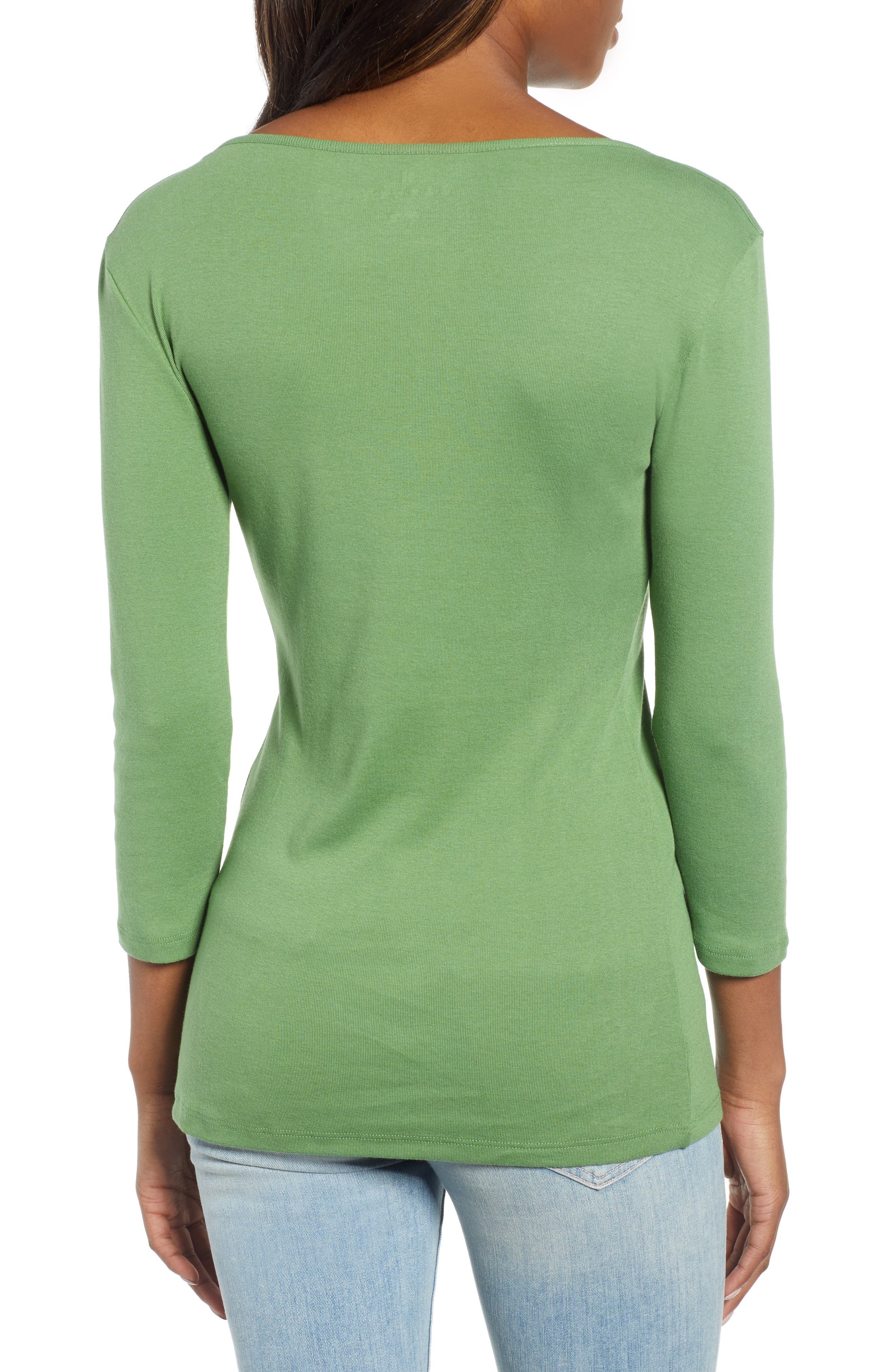 CASLON<SUP>®</SUP>, Three Quarter Sleeve Tee, Alternate thumbnail 2, color, GREEN WILLOW