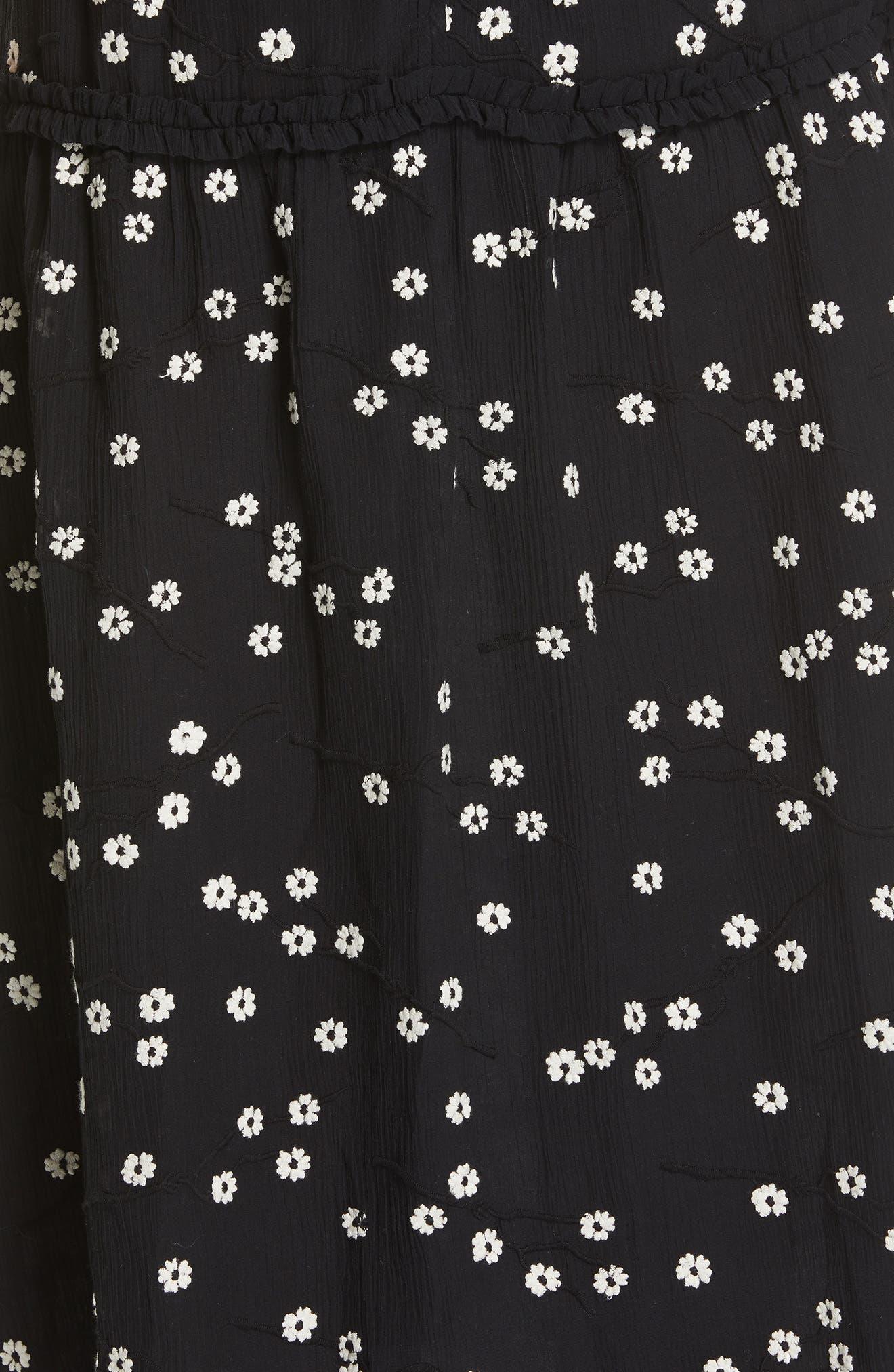 REBECCA TAYLOR, Allessandra Midi Dress, Alternate thumbnail 6, color, BLACK COMBO