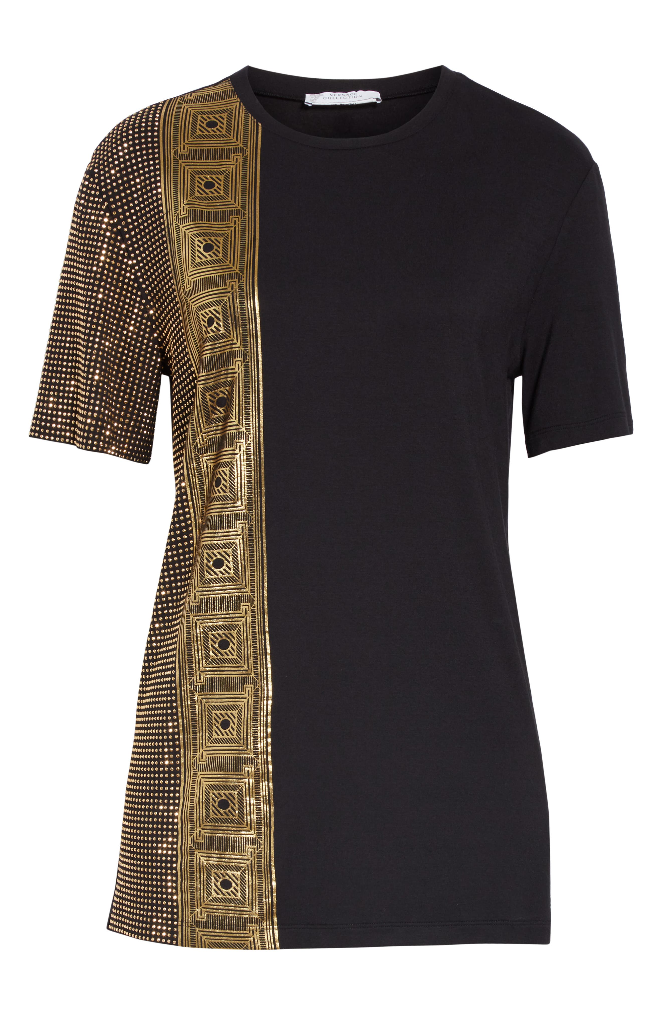 VERSACE COLLECTION, Embellished Tee, Alternate thumbnail 6, color, BLACK