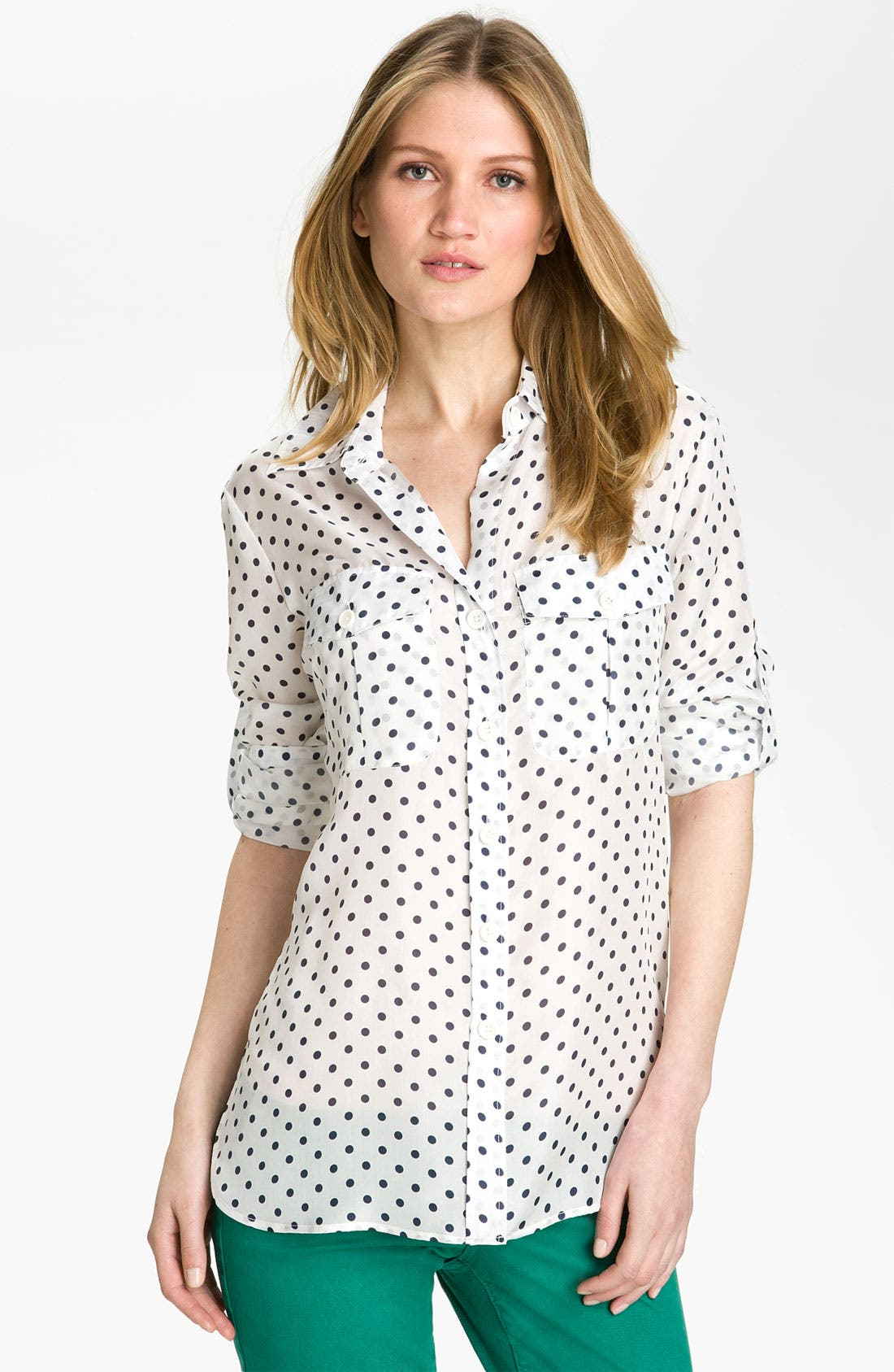 BELLEFLEUR, Polka Dot Voile Shirt, Main thumbnail 1, color, 119