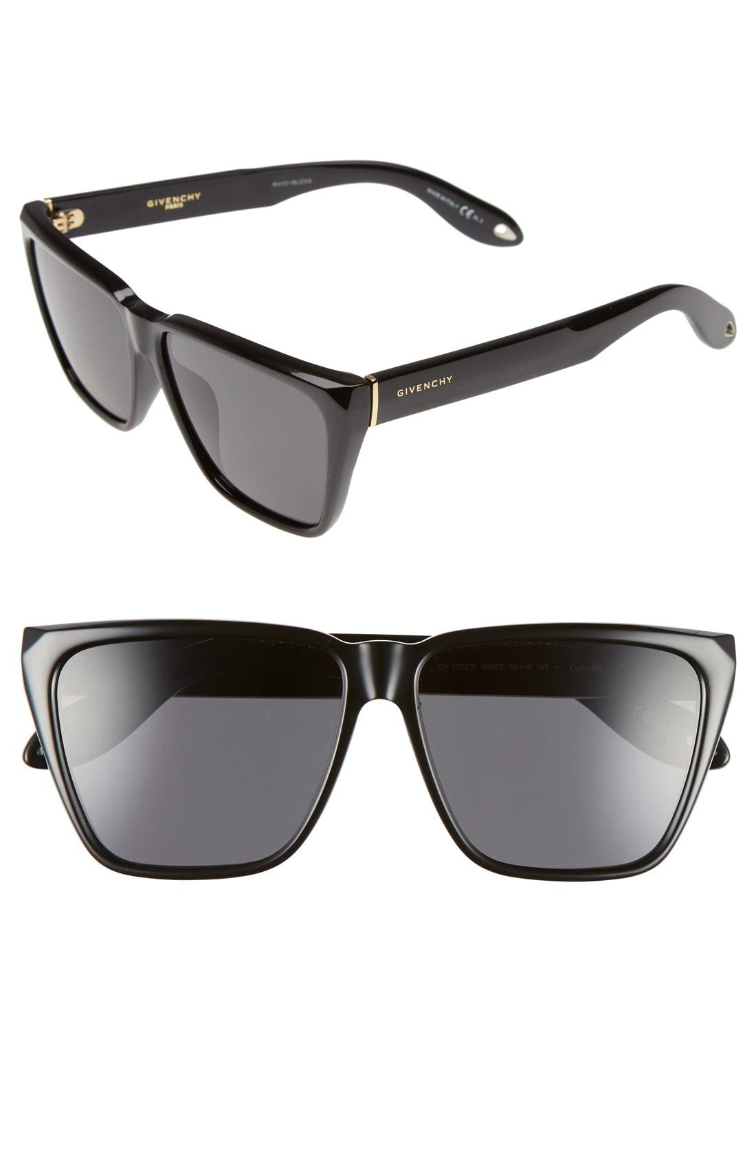 GIVENCHY 58mm Flat Top Sunglasses, Main, color, BLACK/ GREY