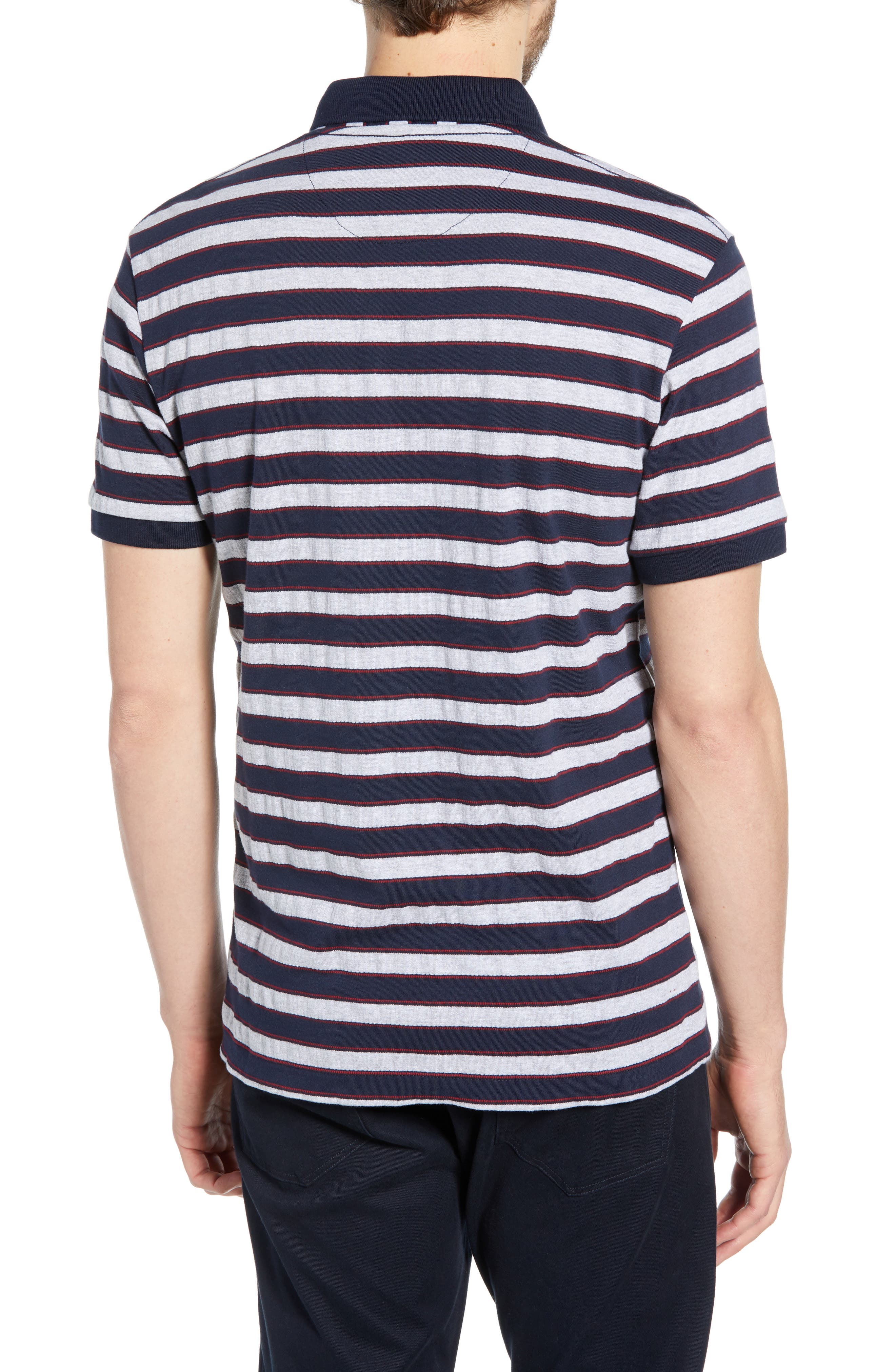 FRENCH CONNECTION, Stripe Regular Fit Mélange Polo, Alternate thumbnail 2, color, UTILITY BLUE