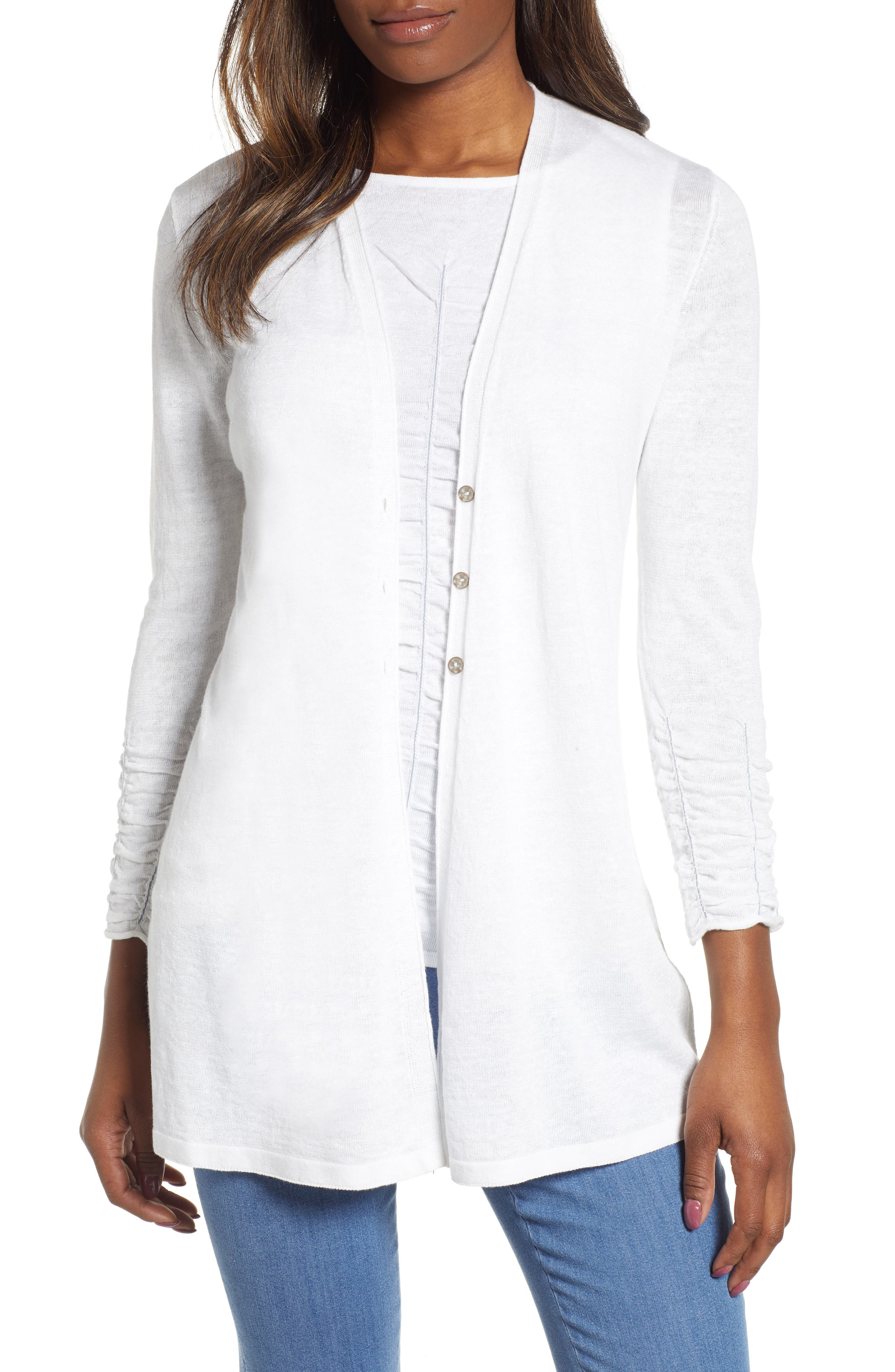 NIC+ZOE, Ruched Sleeve Cardigan, Main thumbnail 1, color, PAPER WHITE