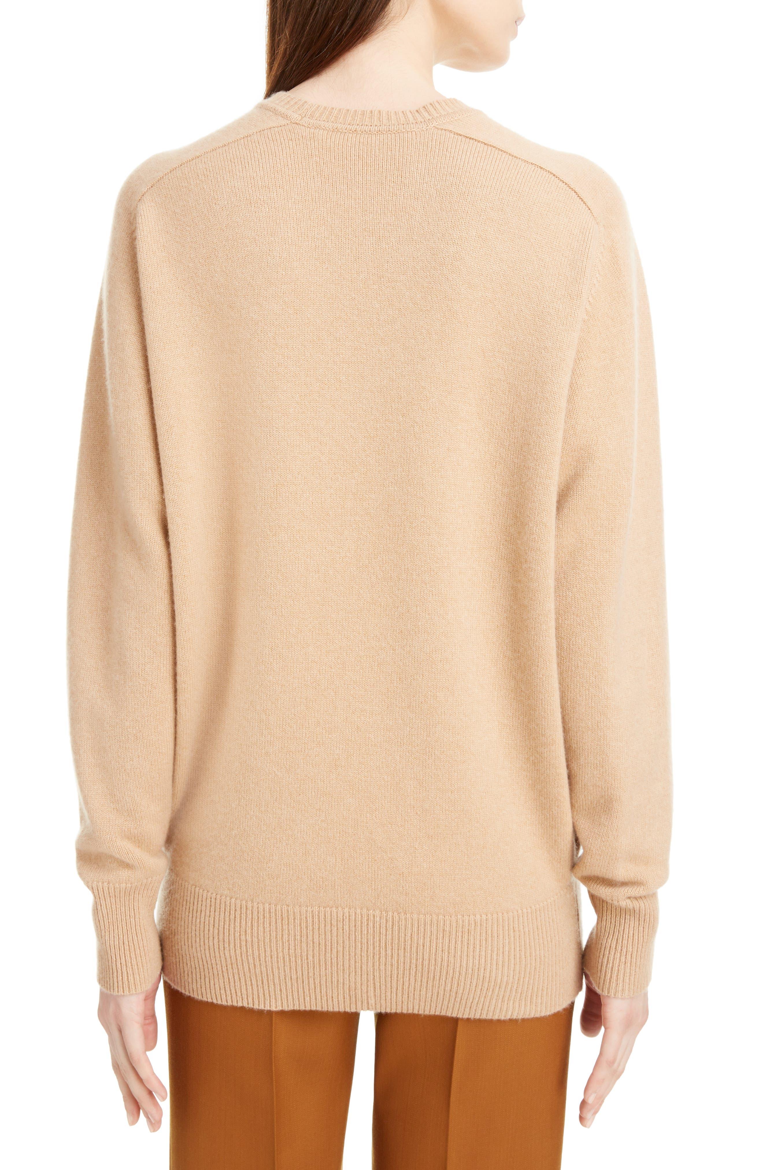 VICTORIA BECKHAM, Cashmere Blend Sweater, Alternate thumbnail 2, color, LIGHT CAMEL