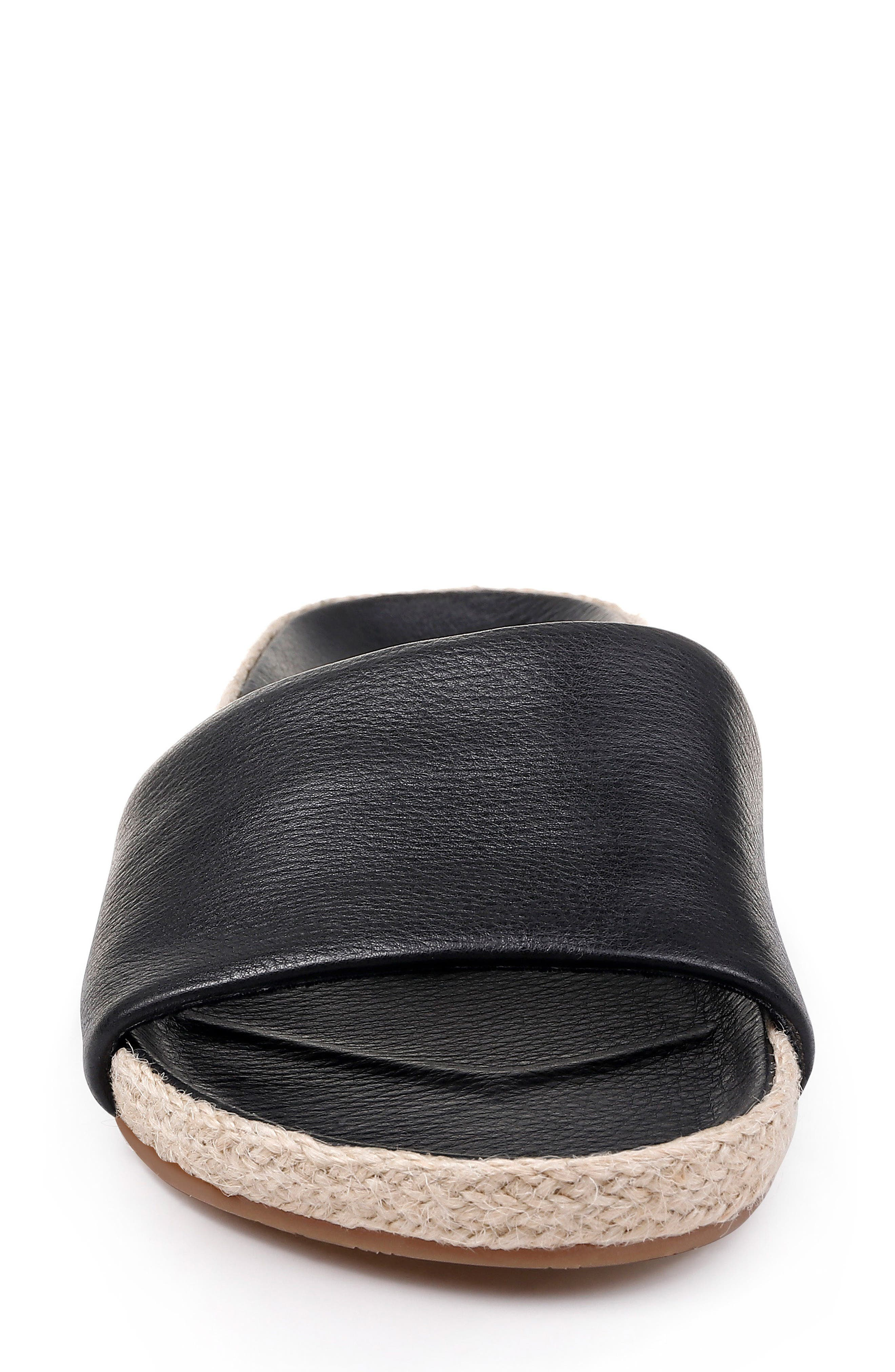 SPLENDID, Sandford Espadrille Slide Sandal, Alternate thumbnail 4, color, BLACK LEATHER