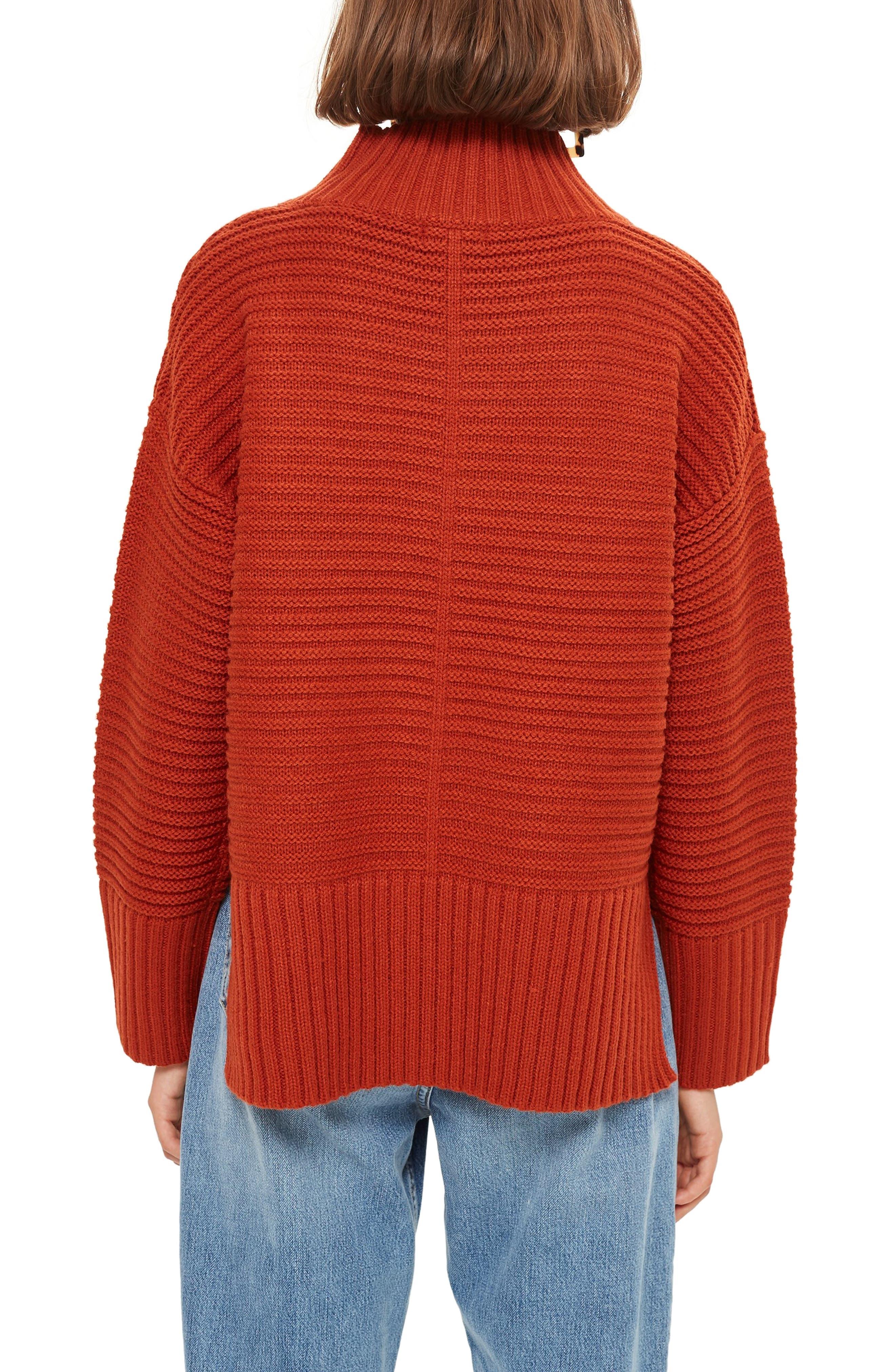 TOPSHOP, Mock Neck Sweater, Alternate thumbnail 2, color, RUST