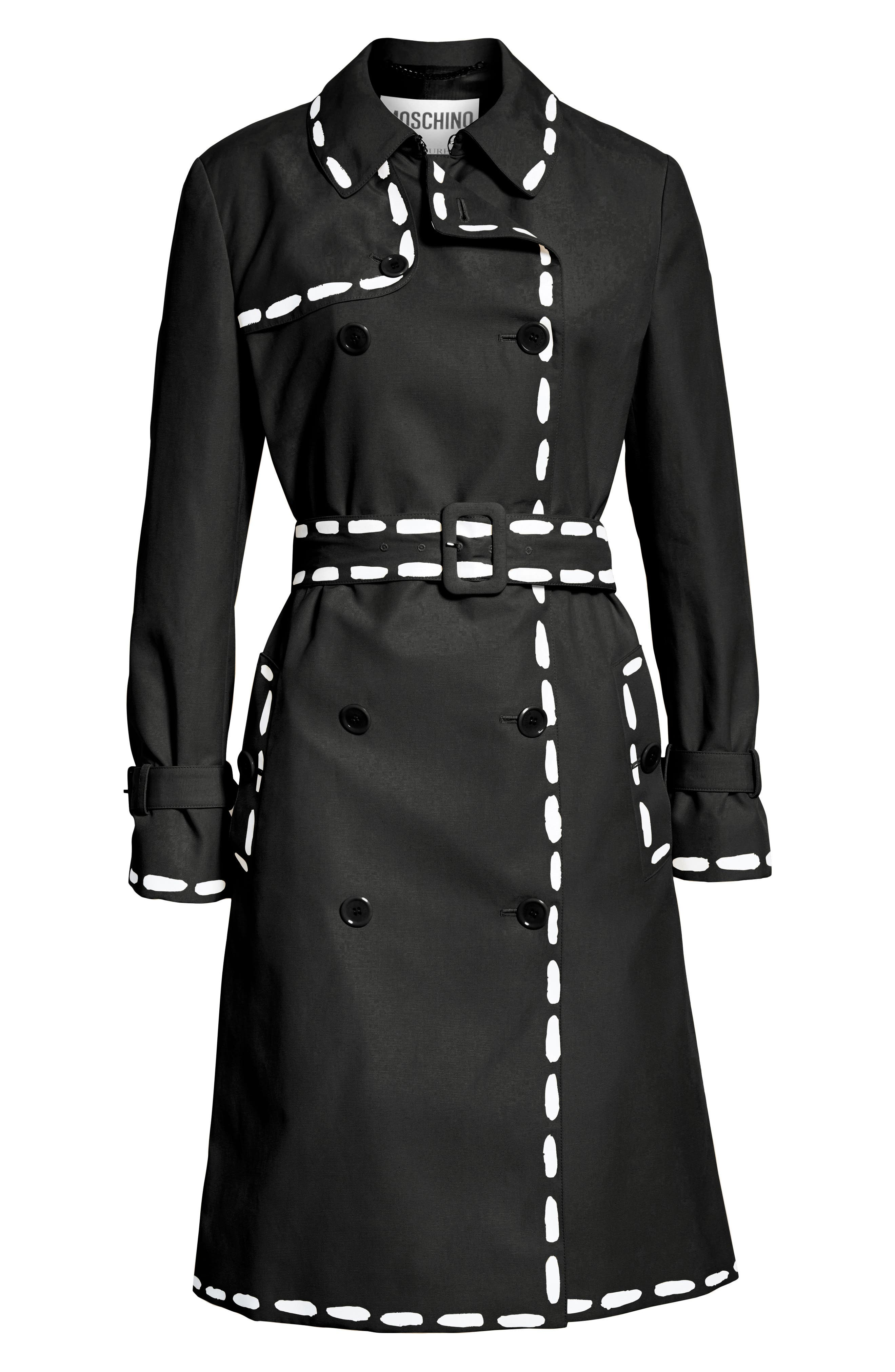 MOSCHINO, Dotted Line Trench Coat, Alternate thumbnail 5, color, BLACK
