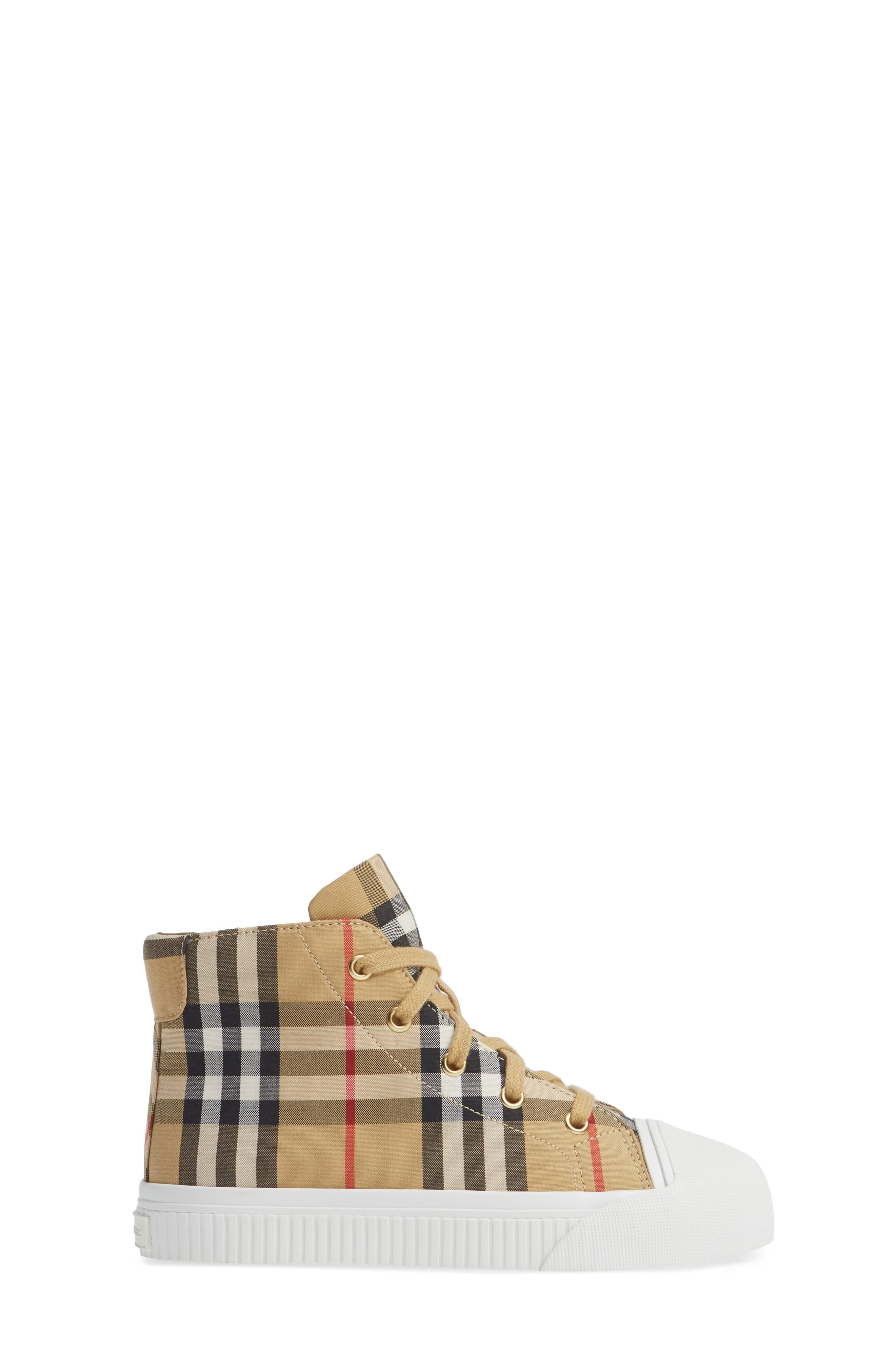 BURBERRY, Belford High-Top Sneaker, Alternate thumbnail 3, color, ANTIQUE YELLOW/ OPTIC WHITE