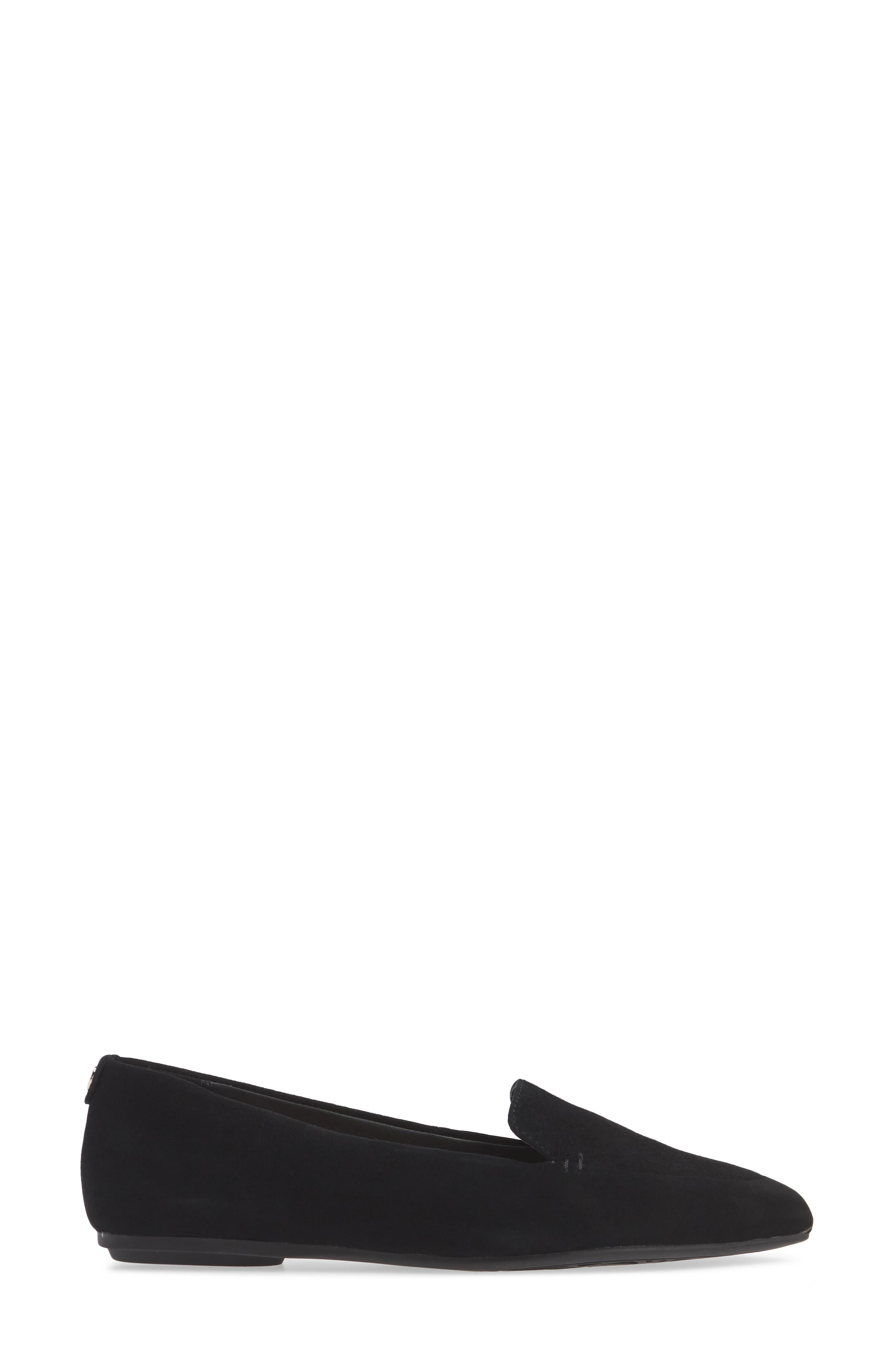 TARYN ROSE, Faye Pointy Toe Loafer, Alternate thumbnail 3, color, BLACK/ BLACK SUEDE