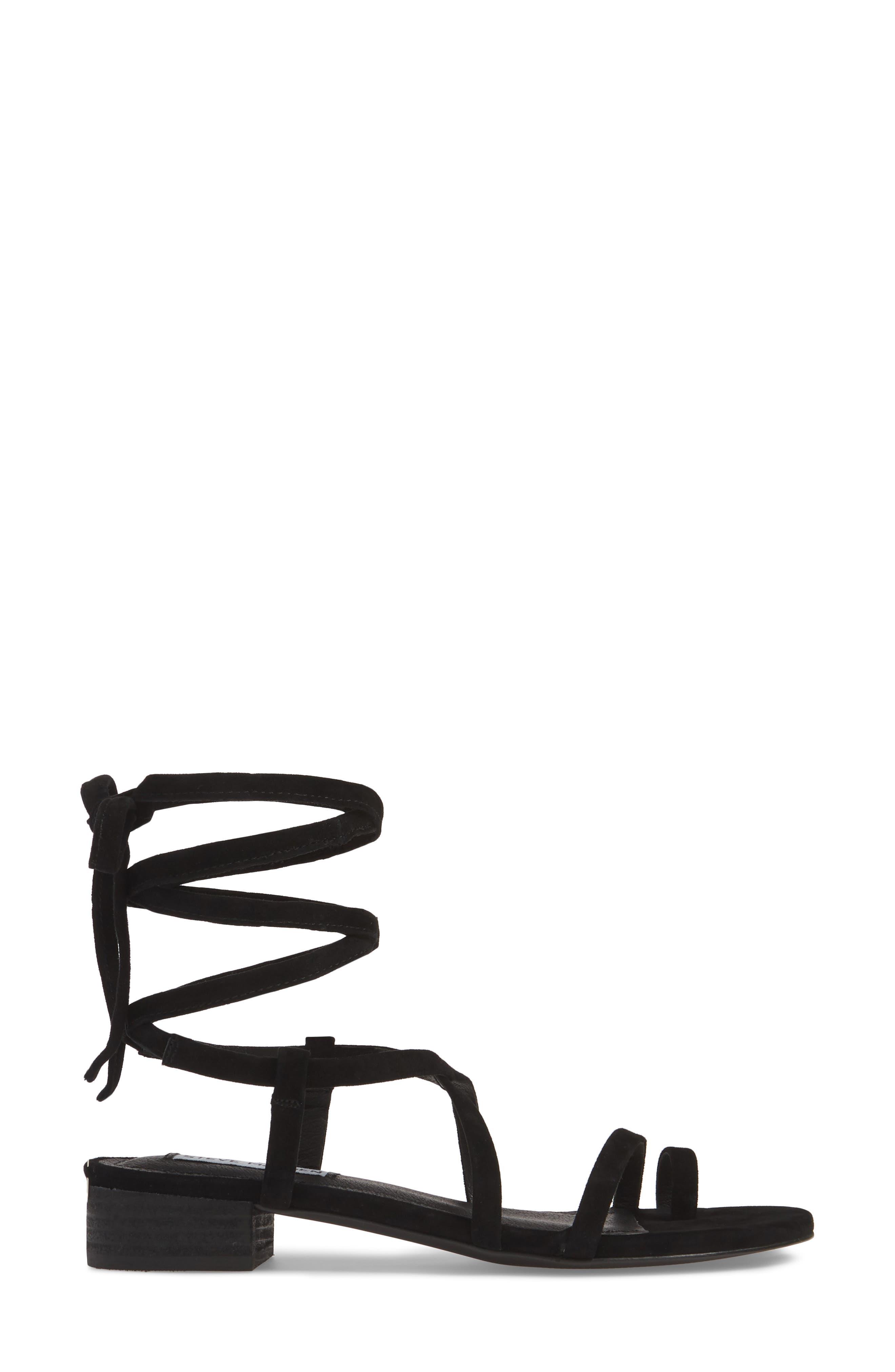 STEVE MADDEN, Adrenaline Lace-Up Sandal, Alternate thumbnail 3, color, BLACK SUEDE