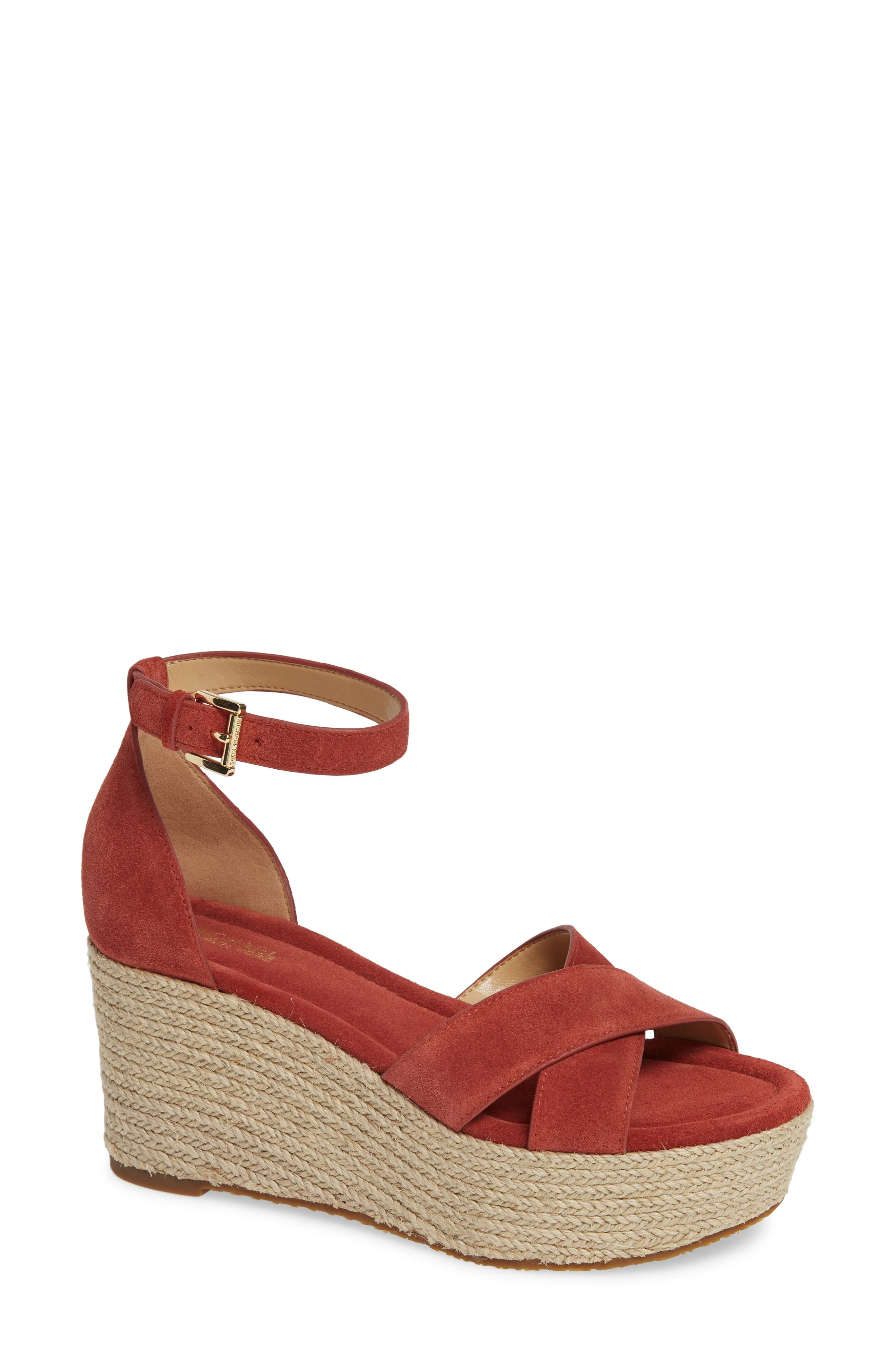 MICHAEL MICHAEL KORS, Desiree Jute Espadrille Wedge, Main thumbnail 1, color, TERRACOTTA SUEDE