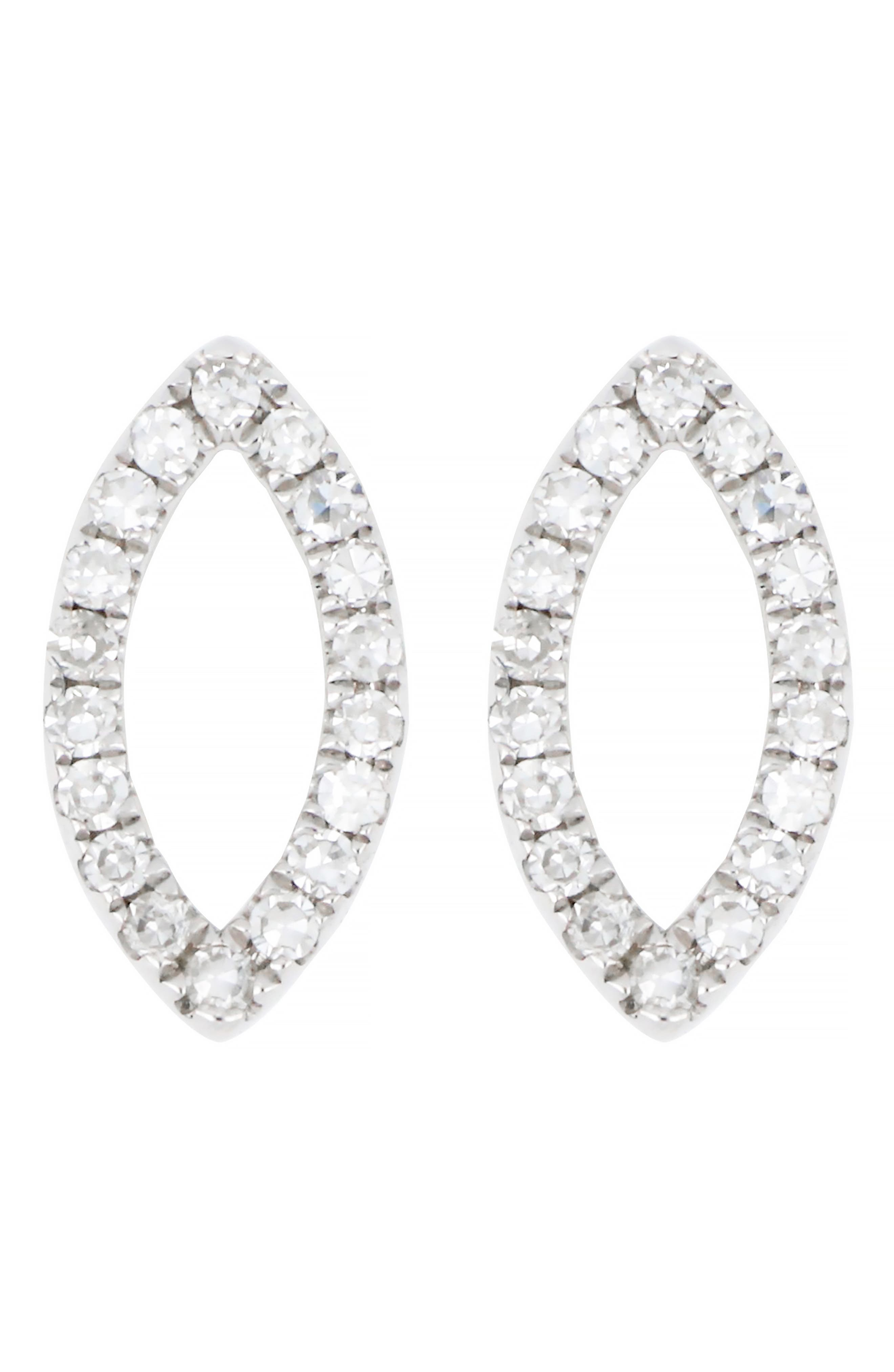 CARRIERE JEWELRY, Carrière Diamond Marquise Stud Earrings, Main thumbnail 1, color, 040