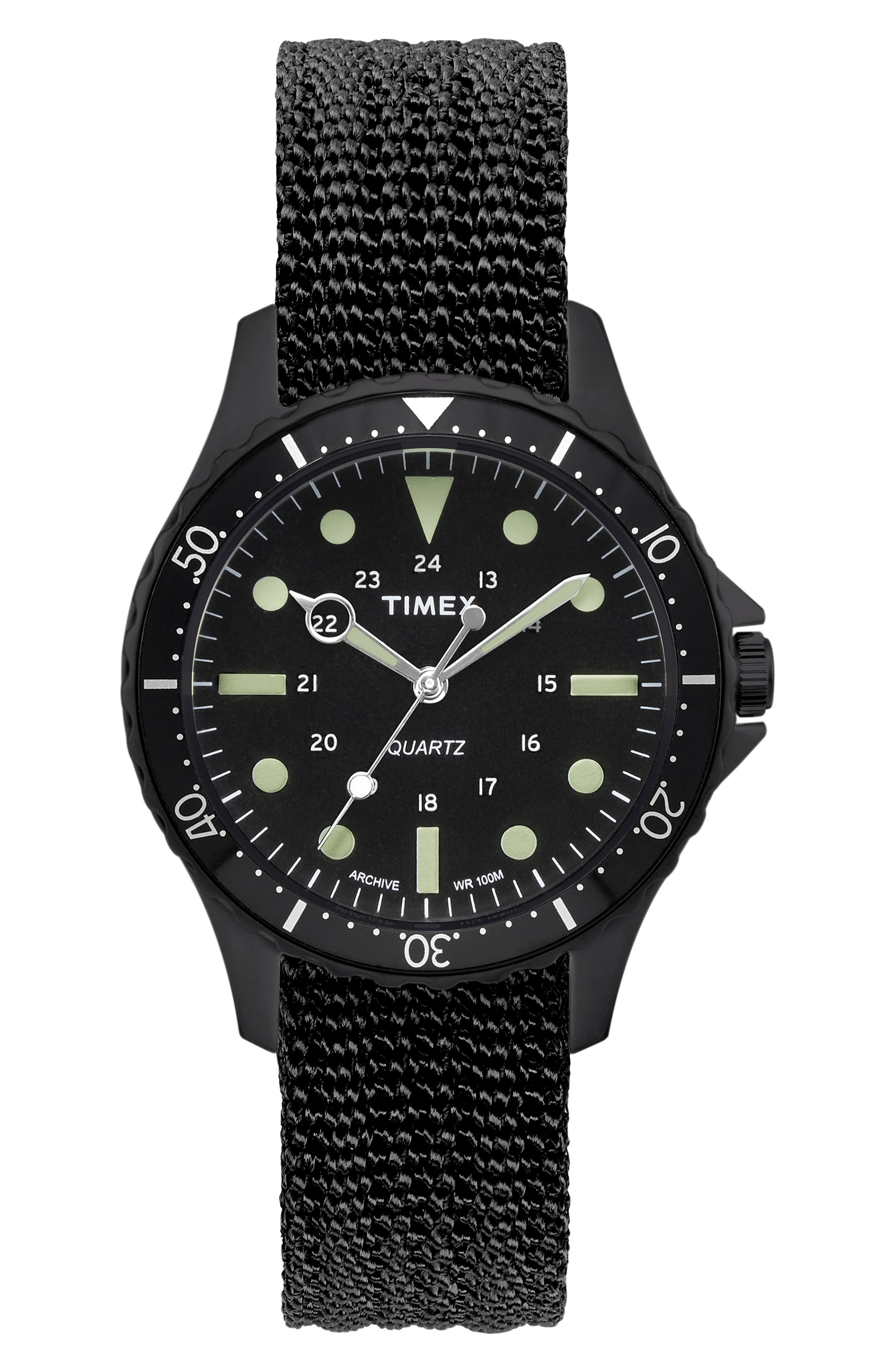 TIMEX<SUP>®</SUP> ARCHIVE, Navi Harbor NATO Strap Watch, 38mm, Main thumbnail 1, color, 001