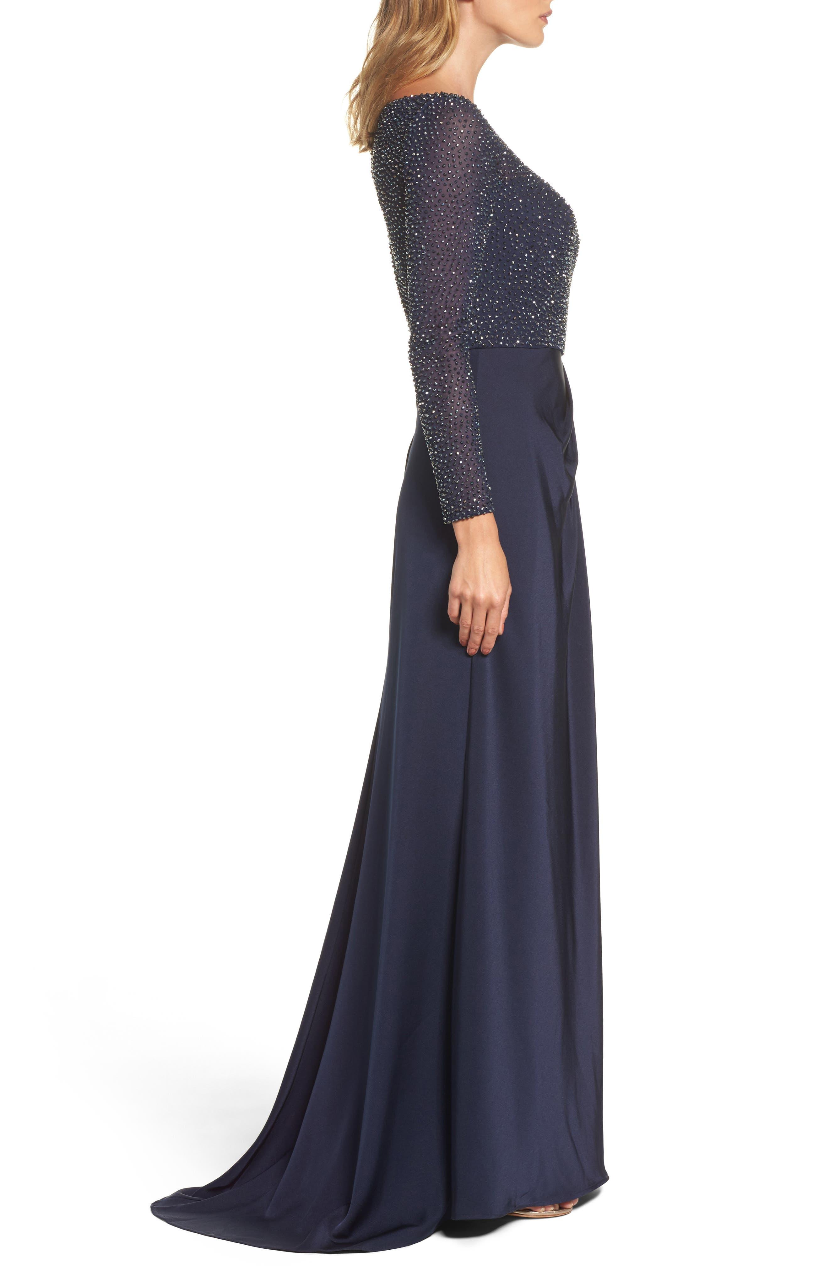 LA FEMME, Bead Embellished Gown, Alternate thumbnail 3, color, NAVY