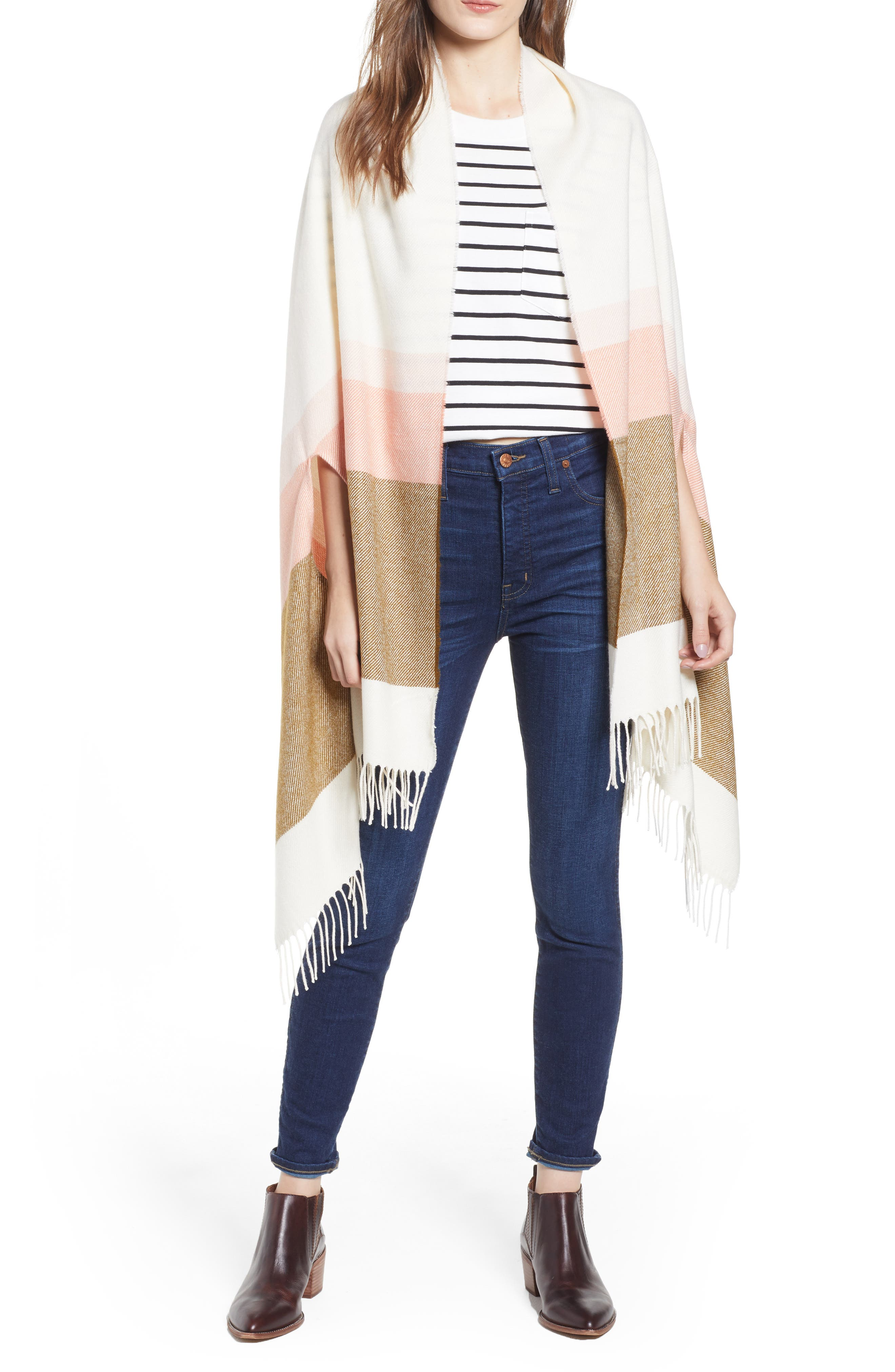 MADEWELL, Placed Stripe Cape Scarf, Main thumbnail 1, color, 200