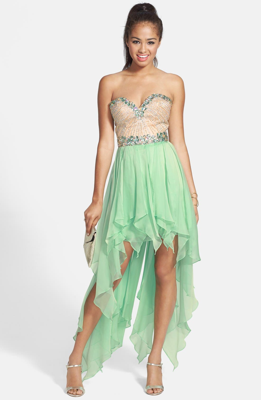 SHERRI HILL, Strapless High/Low Gown, Main thumbnail 1, color, 330