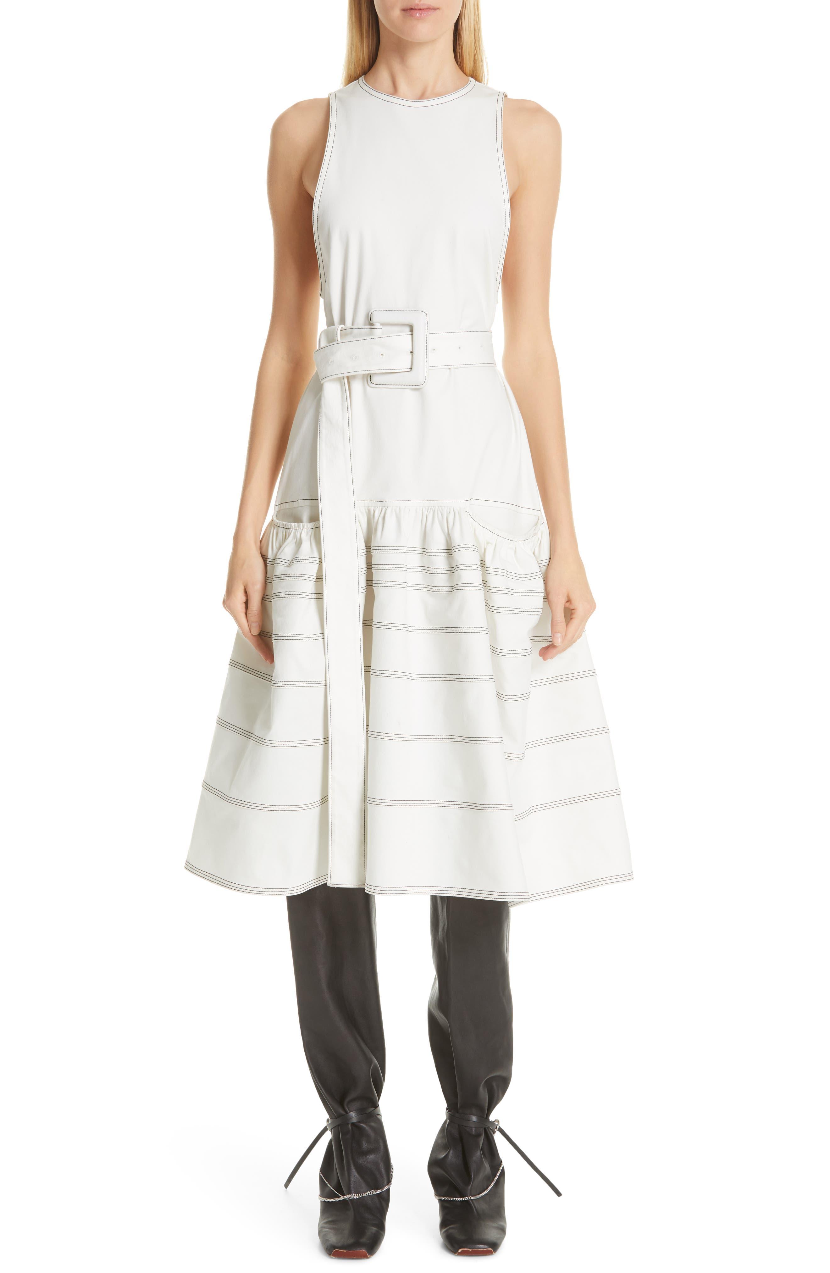 Proenza Schouler Belted Drop Waist Dress, White