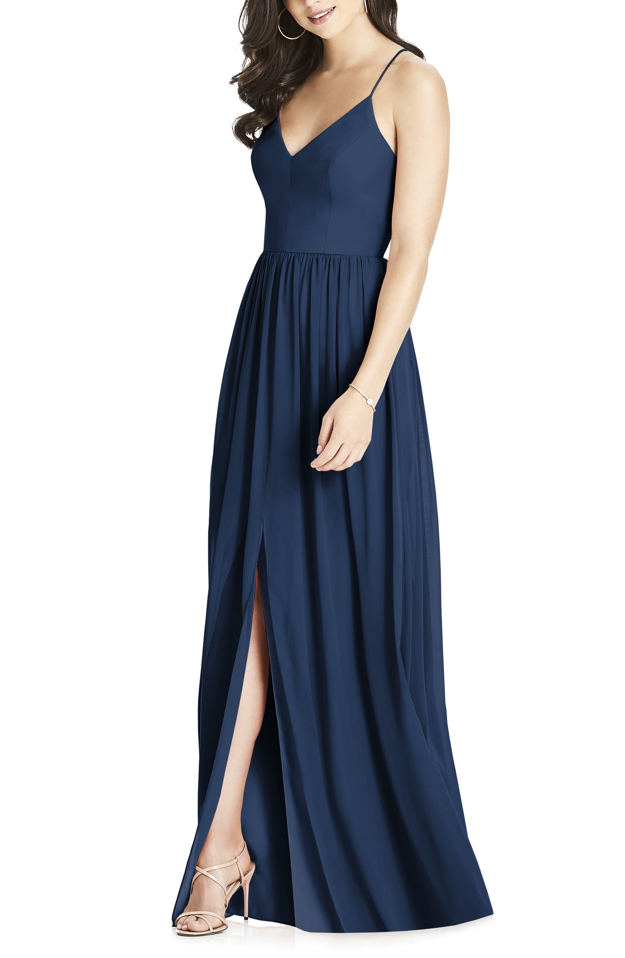 Dessy Collection Spaghetti Strap Chiffon Gown, Blue