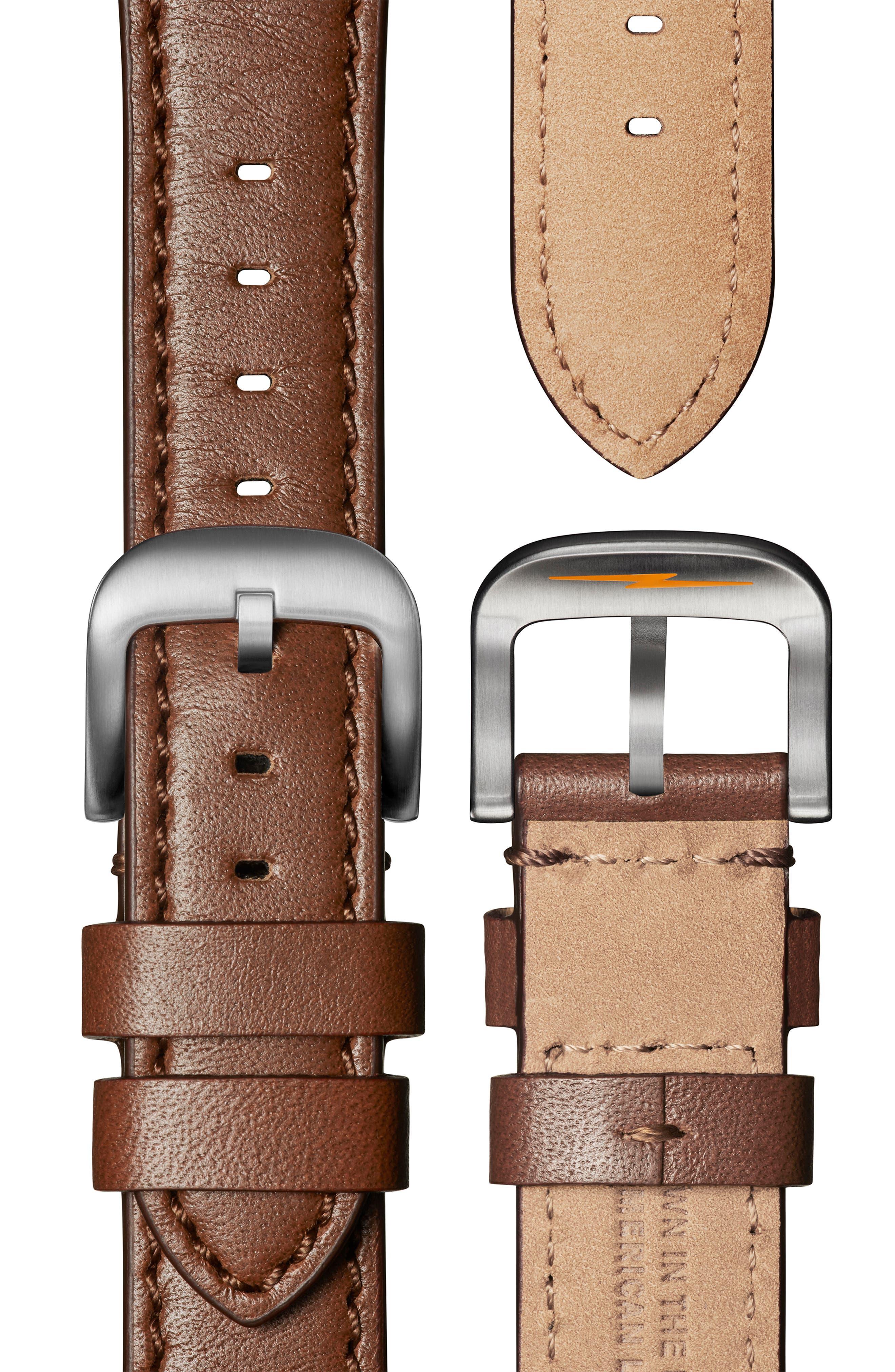 SHINOLA, 'The Runwell' Leather Strap Watch, 41mm, Alternate thumbnail 5, color, DARK COGNAC/ GUNMETAL/ GREY
