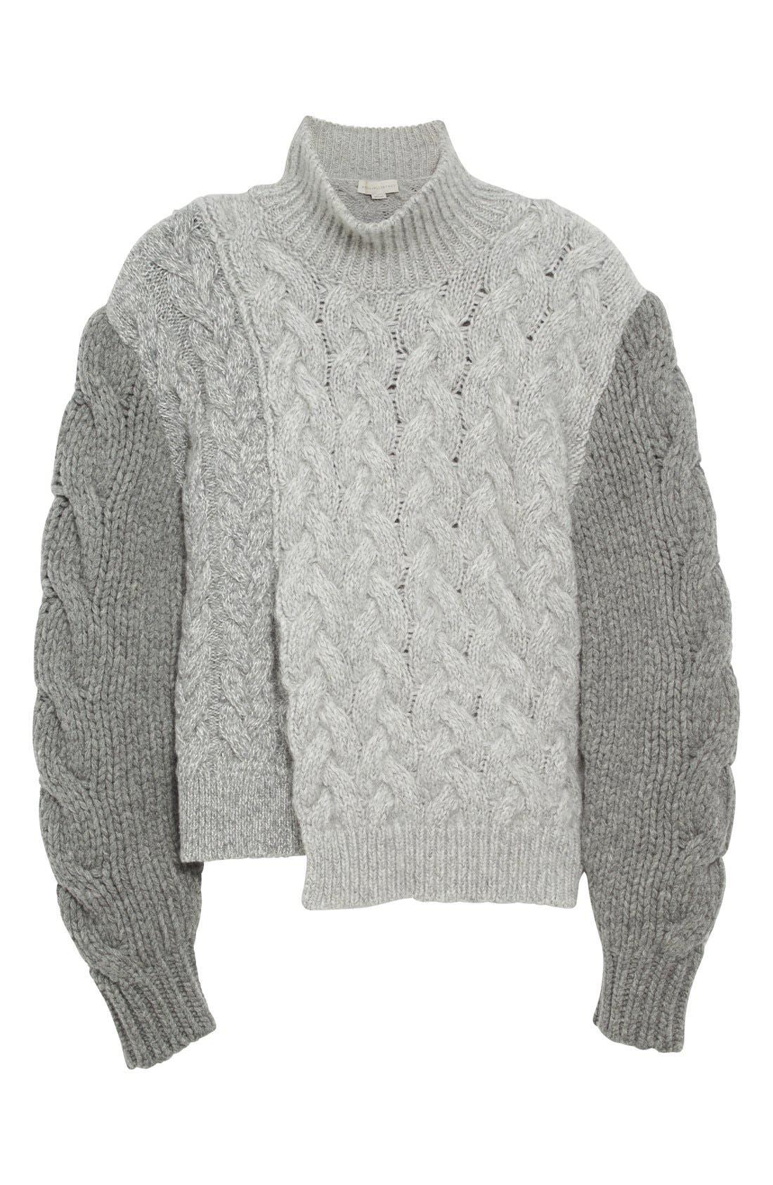 STELLA MCCARTNEY, Mixed Media Turtleneck Sweater, Alternate thumbnail 4, color, 120