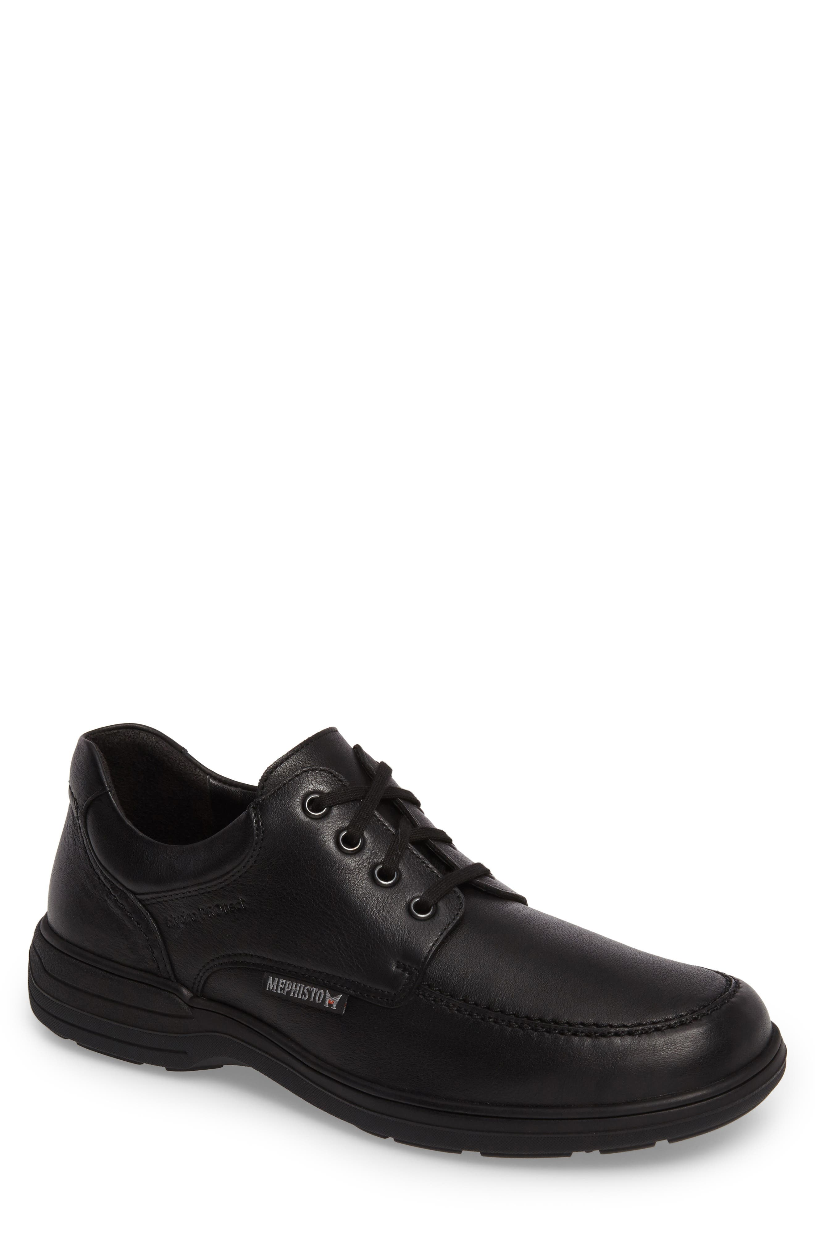 MEPHISTO, Douk HydroProtect Waterproof Moc Toe Derby, Main thumbnail 1, color, BLACK CALFSKIN
