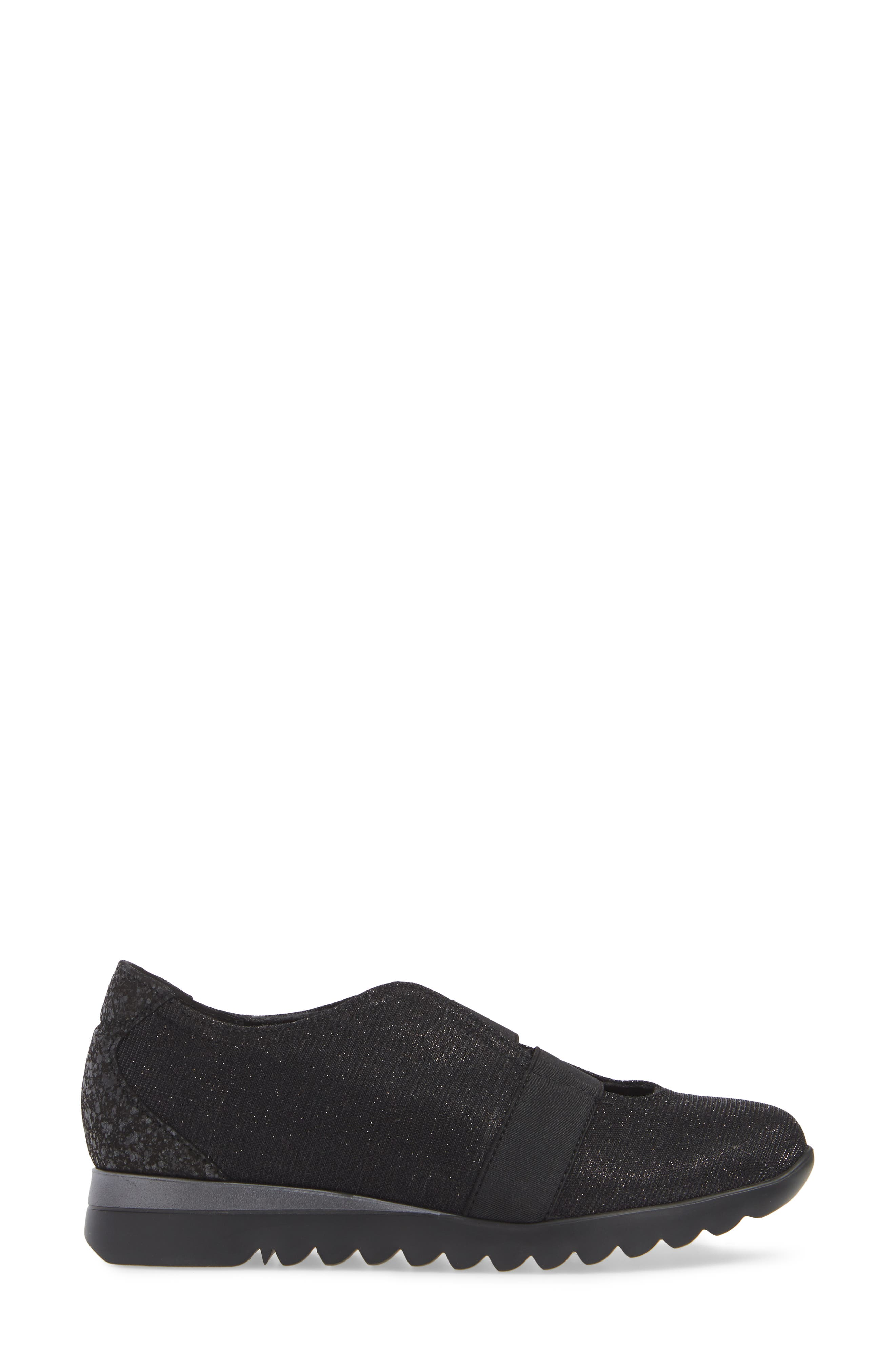 MUNRO, Alta Slip-On Sneaker, Alternate thumbnail 3, color, BLACK SPARKLE FABRIC