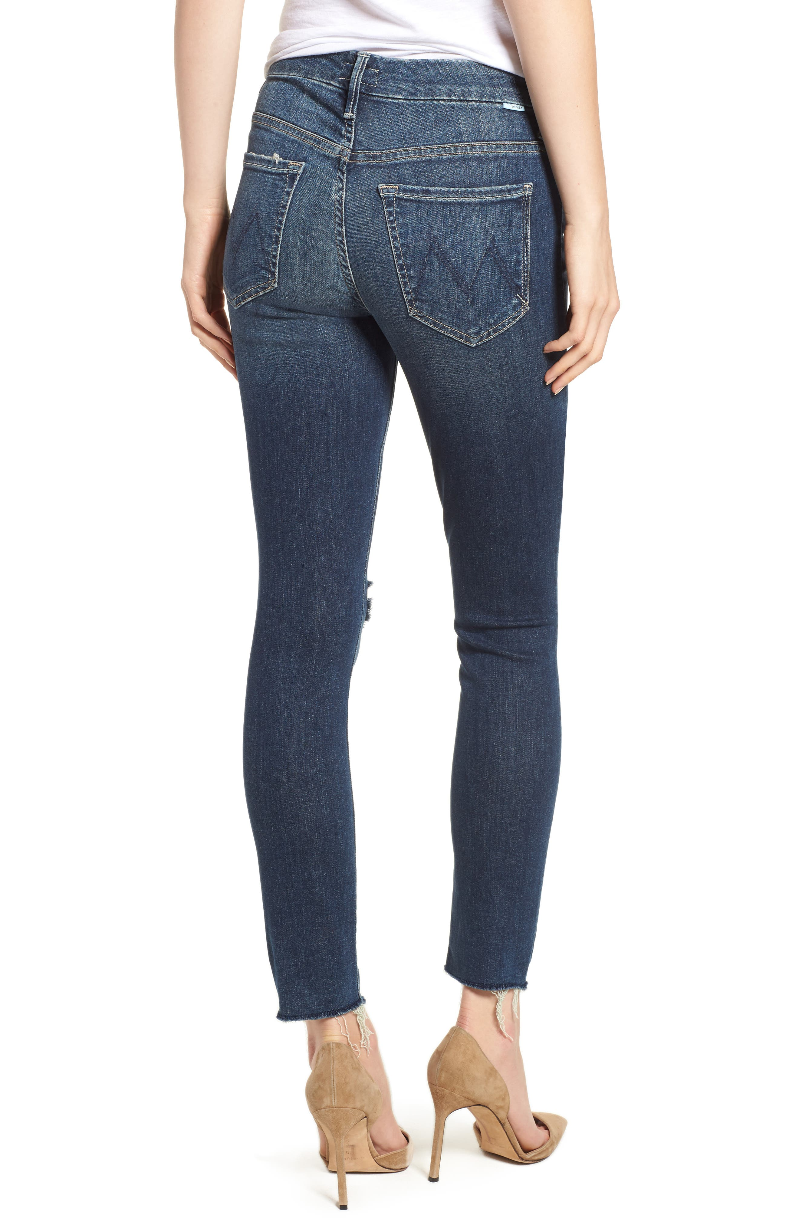 MOTHER, The Looker High Waist Frayed Ankle Skinny Jeans, Alternate thumbnail 2, color, CLOSE TO THE EDGE