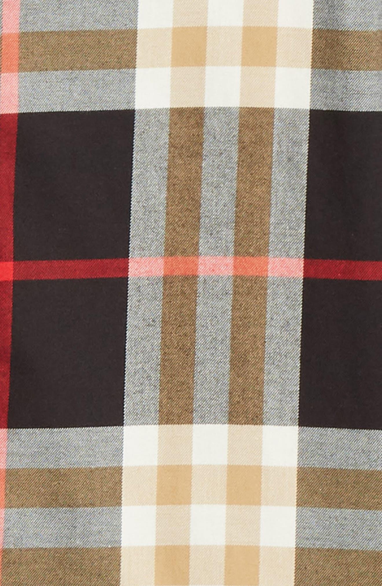 BURBERRY, Richard Slim Fit Plaid Sport Shirt, Alternate thumbnail 6, color, BLACK CHECK