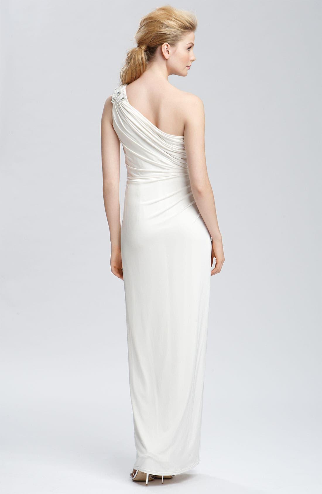 TADASHI SHOJI, Beaded Jersey One Shoulder Gown, Alternate thumbnail 3, color, 900