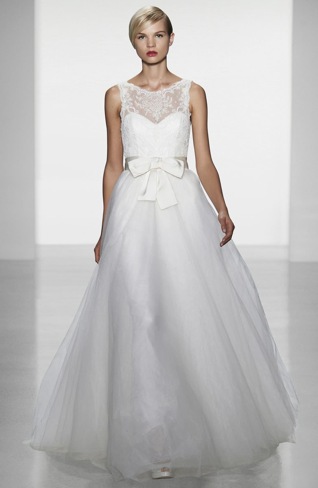 AMSALE, Quinn French Lace Illusion Bodice Tulle Wedding Dress, Alternate thumbnail 6, color, 900