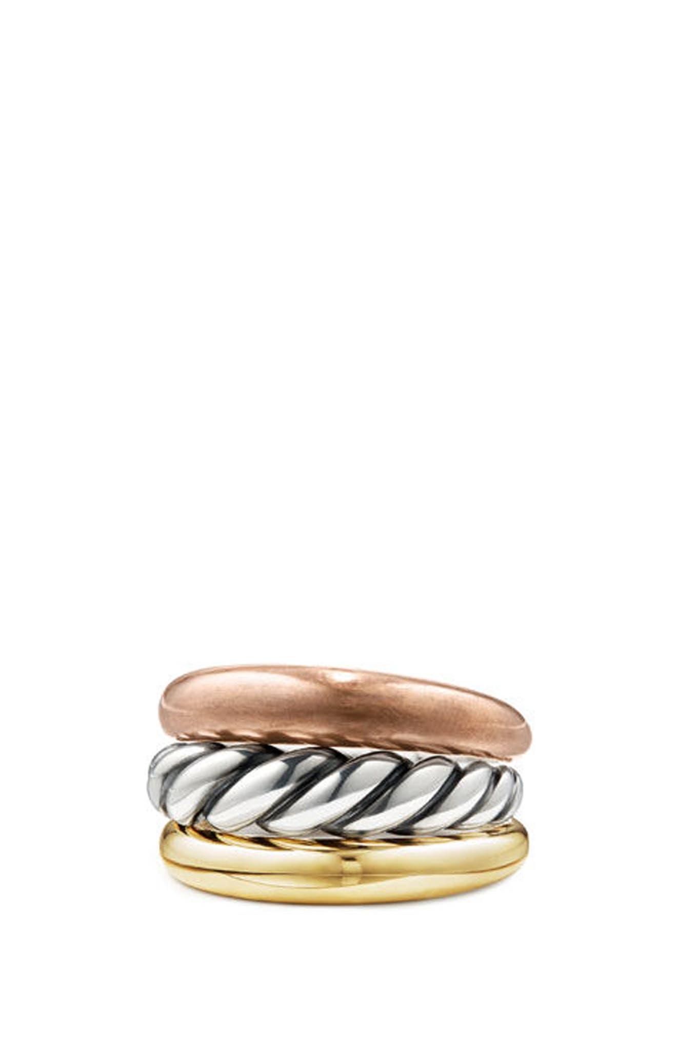 DAVID YURMAN, Pure Form Mixed Metal Three-Row Ring with Bronze, Silver & Brass, Main thumbnail 1, color, SILVER