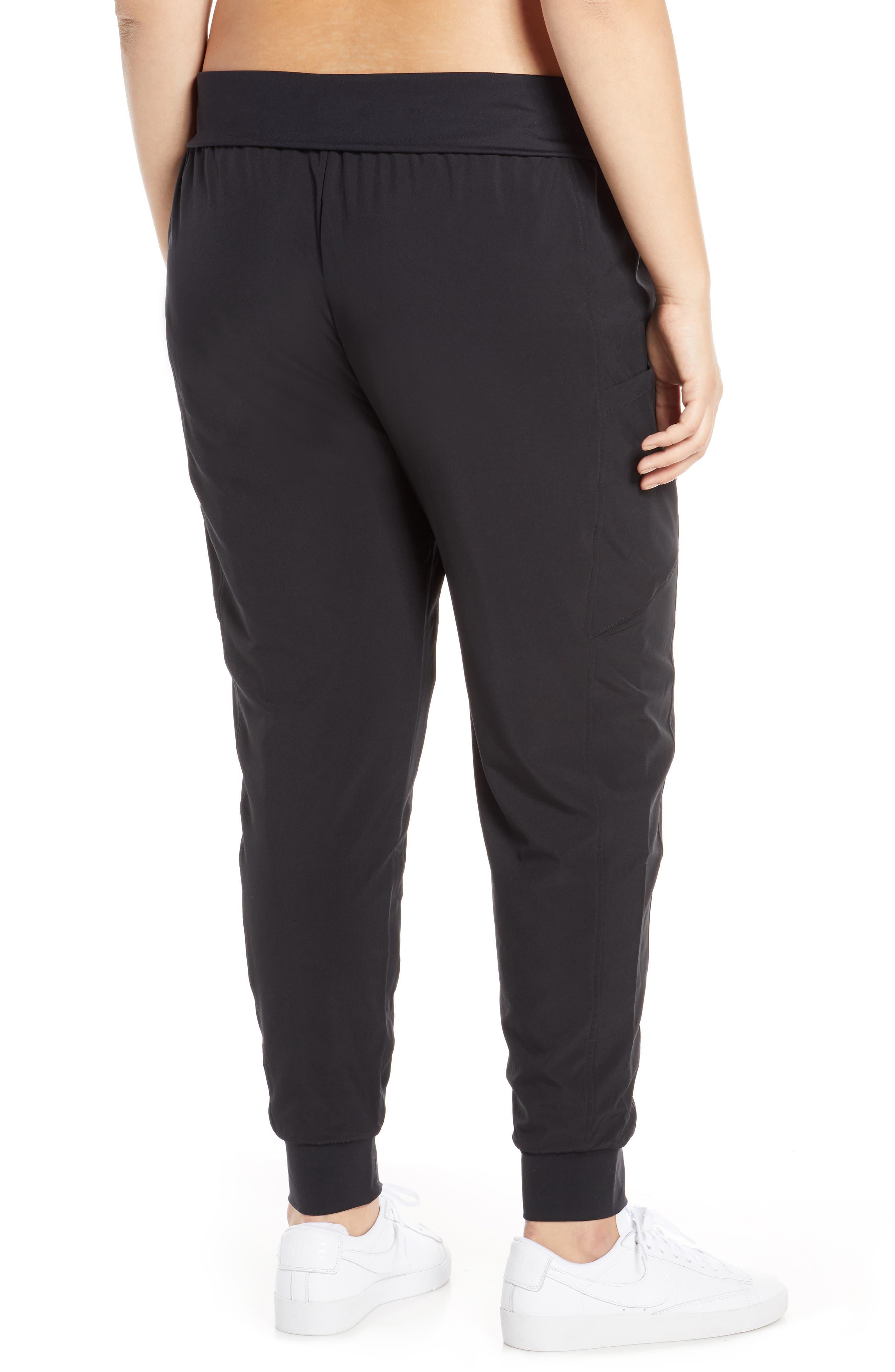 ZELLA, Urban Fold Down Waist Ankle Pants, Alternate thumbnail 9, color, BLACK