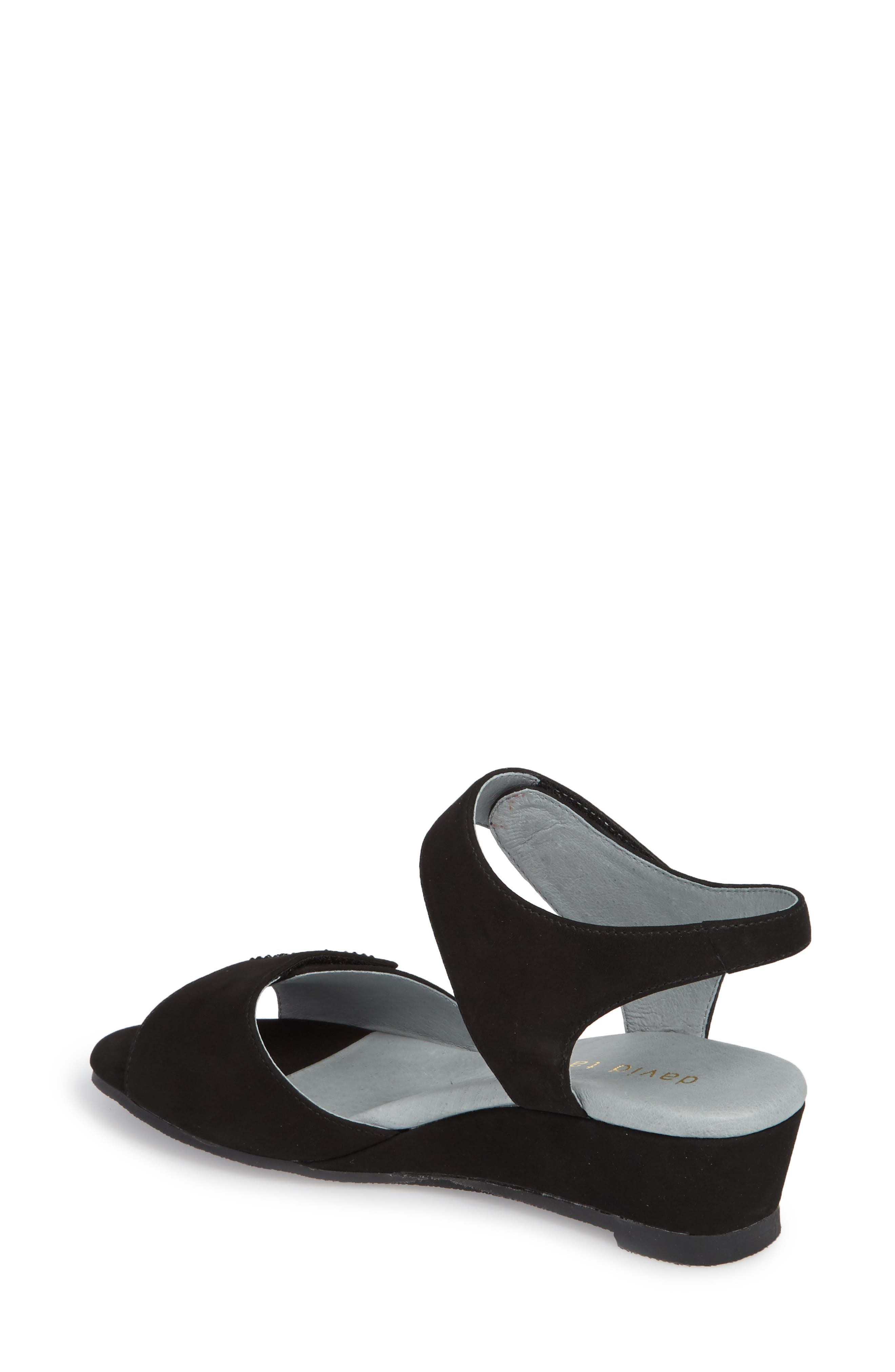 DAVID TATE, Queen Embellished Wedge Sandal, Alternate thumbnail 2, color, BLACK NUBUCK