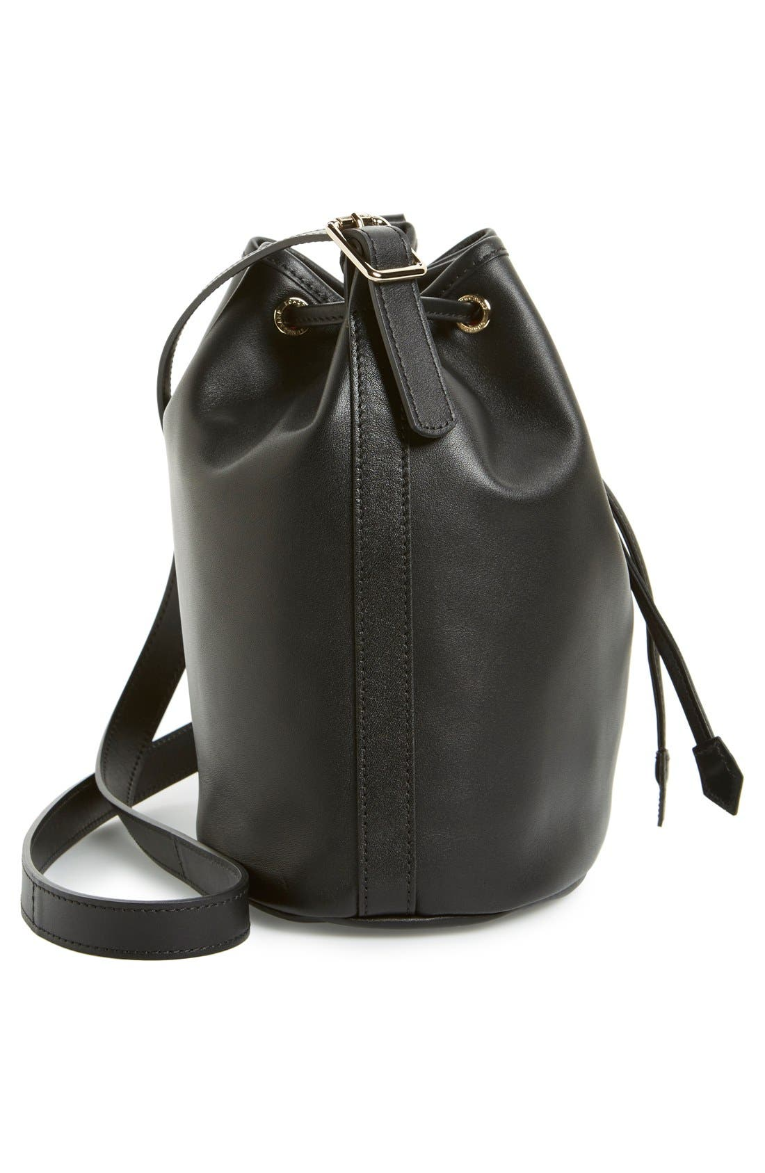 LONGCHAMP, 'Small 2.0' Leather Bucket Bag, Alternate thumbnail 6, color, 001