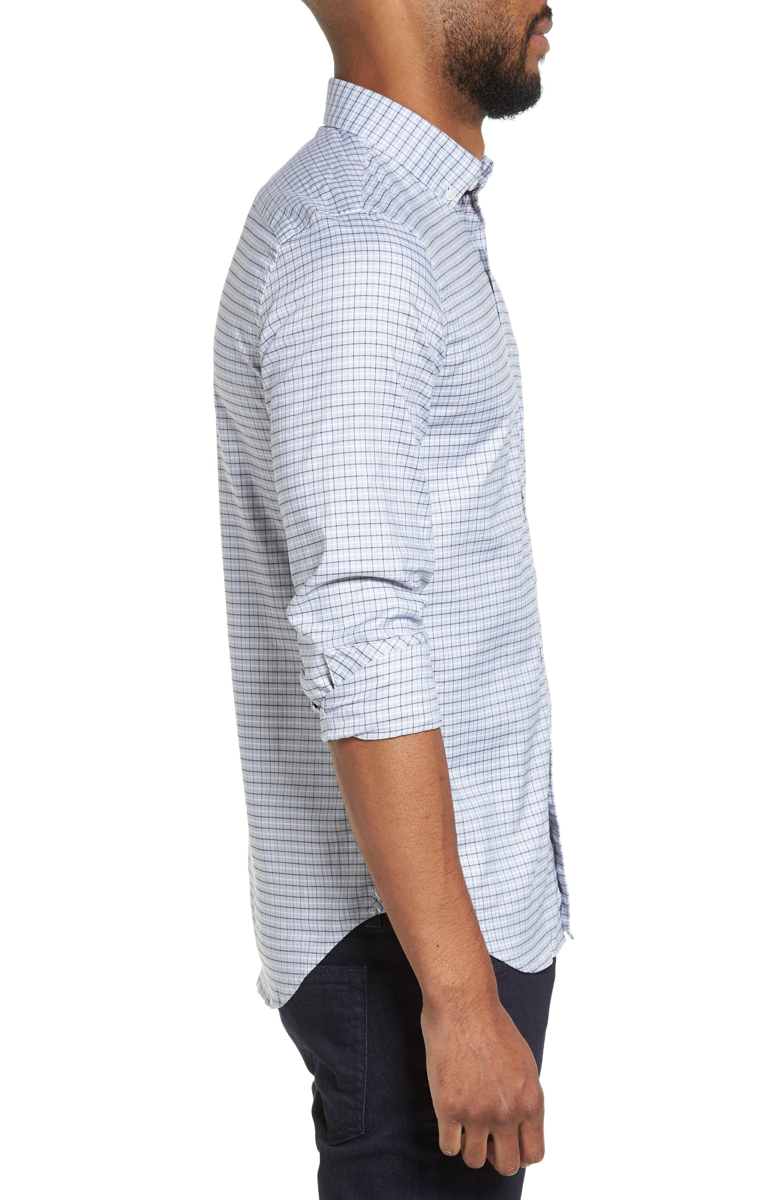 LACOSTE, Slim Fit Plaid Shirt, Alternate thumbnail 3, color, 061