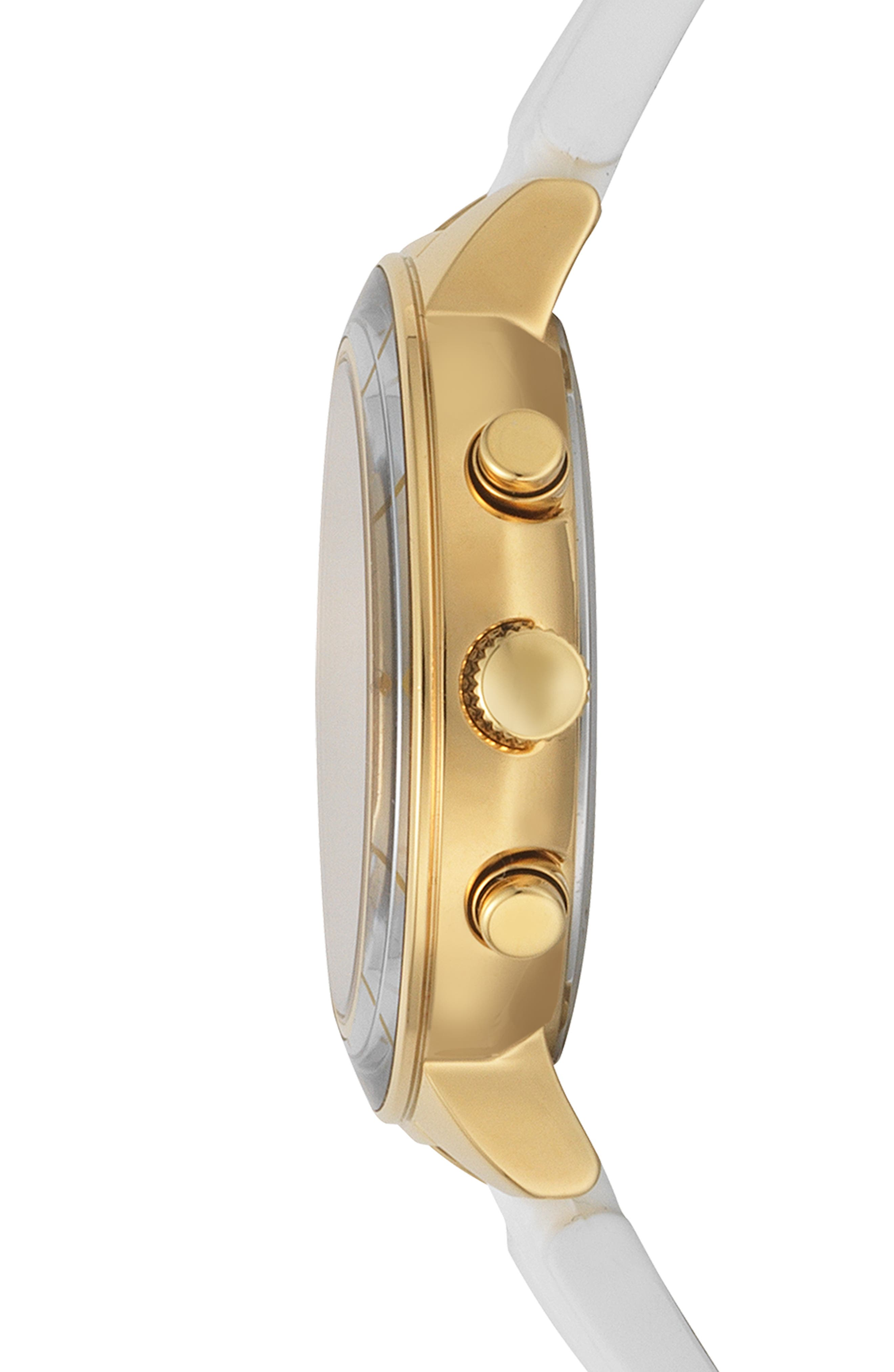 VERSUS VERSACE, Harbour Heights Silicone Strap Watch, 38mm, Alternate thumbnail 2, color, WHITE/ GOLD