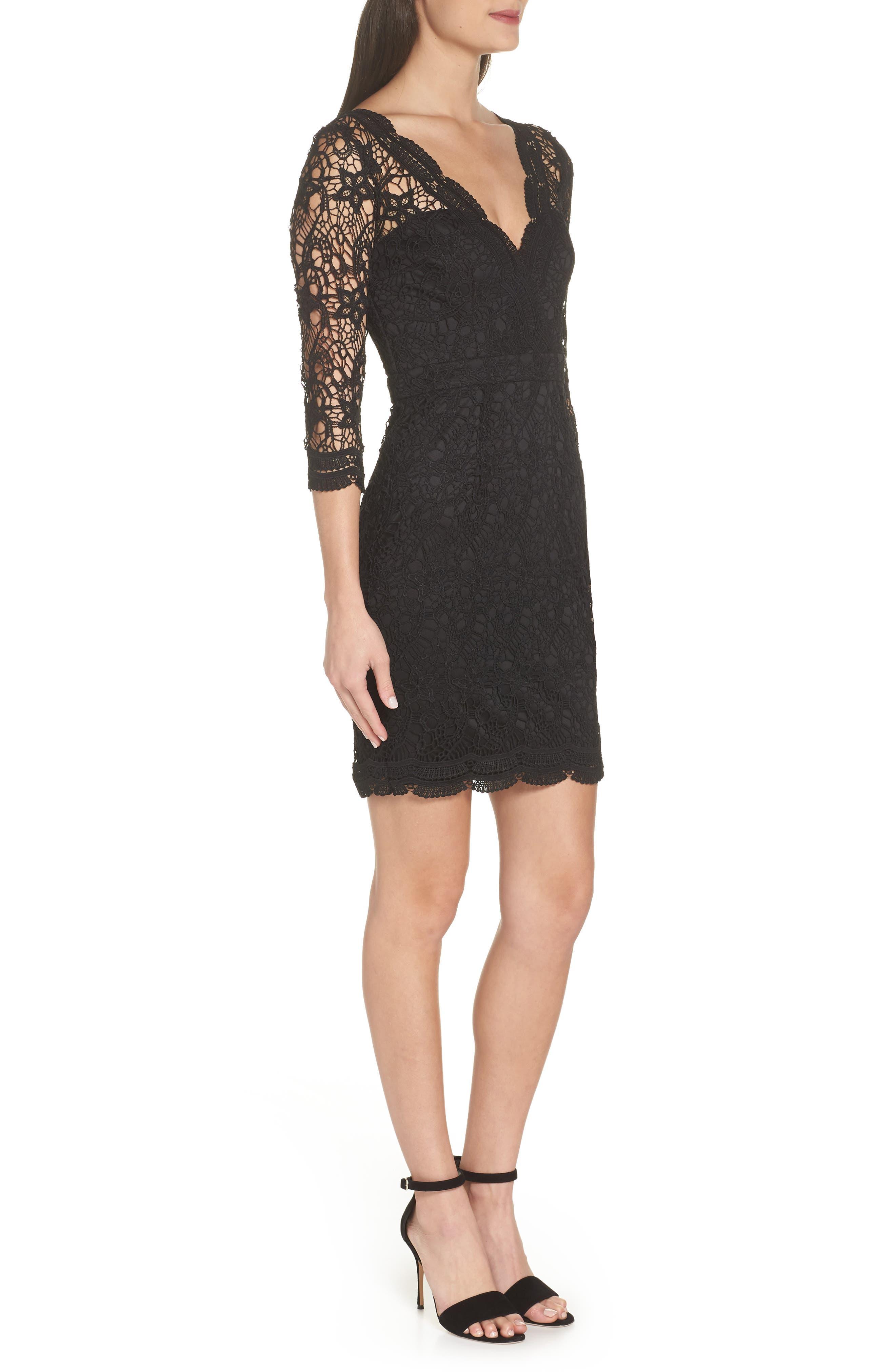 LULUS, Lace Cocktail Dress, Alternate thumbnail 4, color, BLACK
