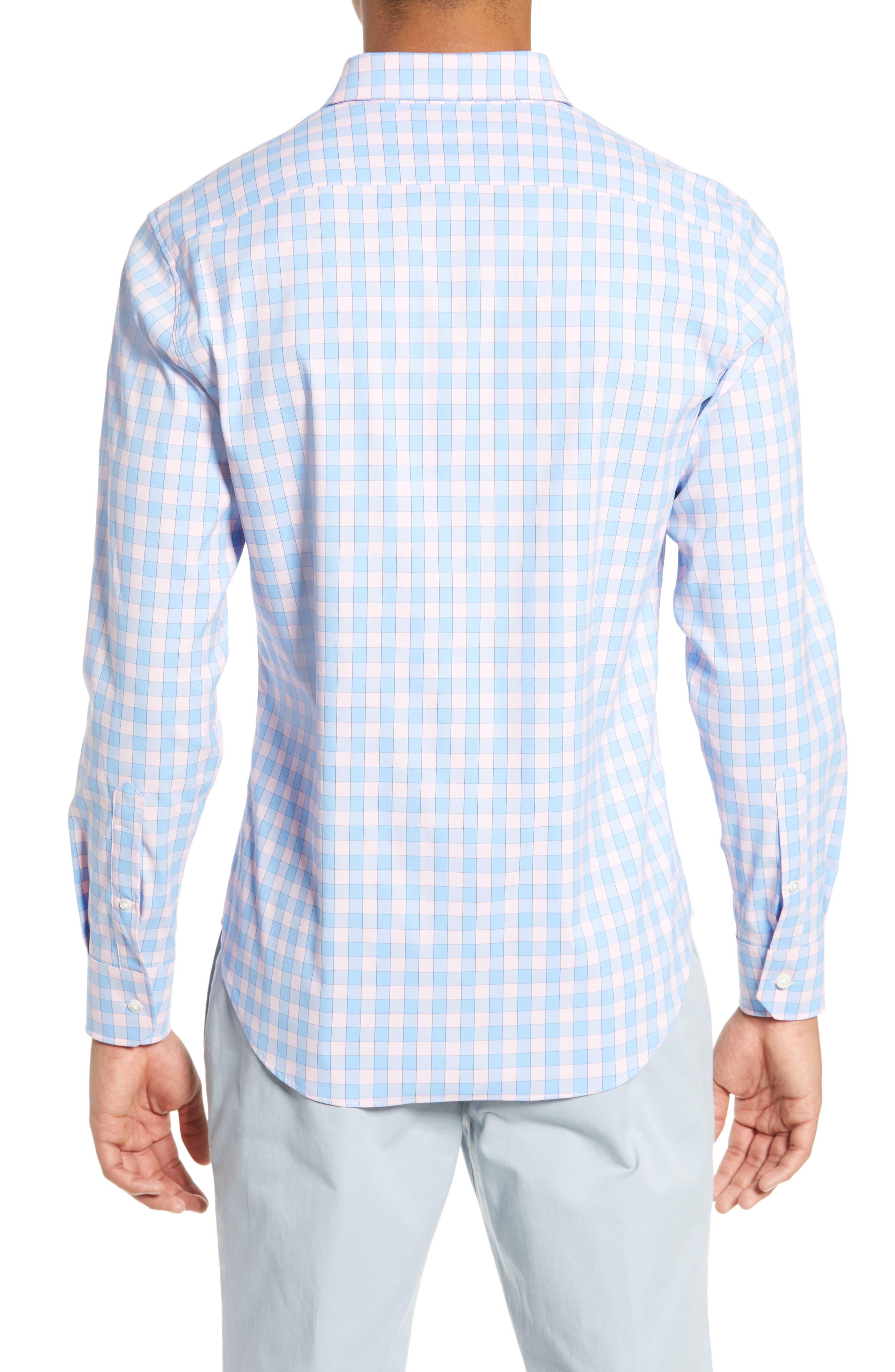 BONOBOS, Slim Fit Check Tech Sport Shirt, Alternate thumbnail 3, color, SAIL BOAT FIRST BLUSH