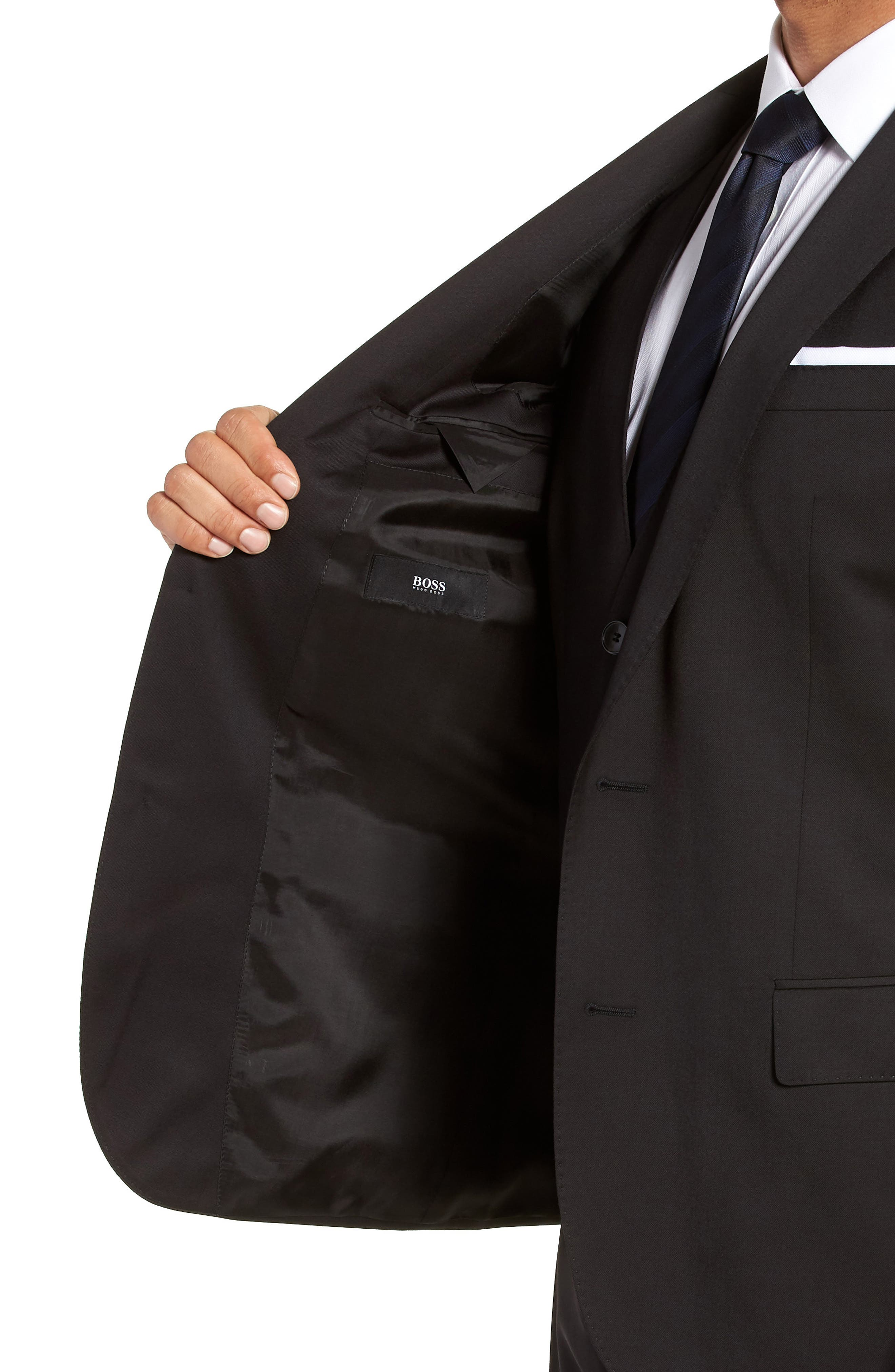 BOSS, Hayes CYL Slim Fit Solid Wool Sport Coat, Alternate thumbnail 4, color, BLACK