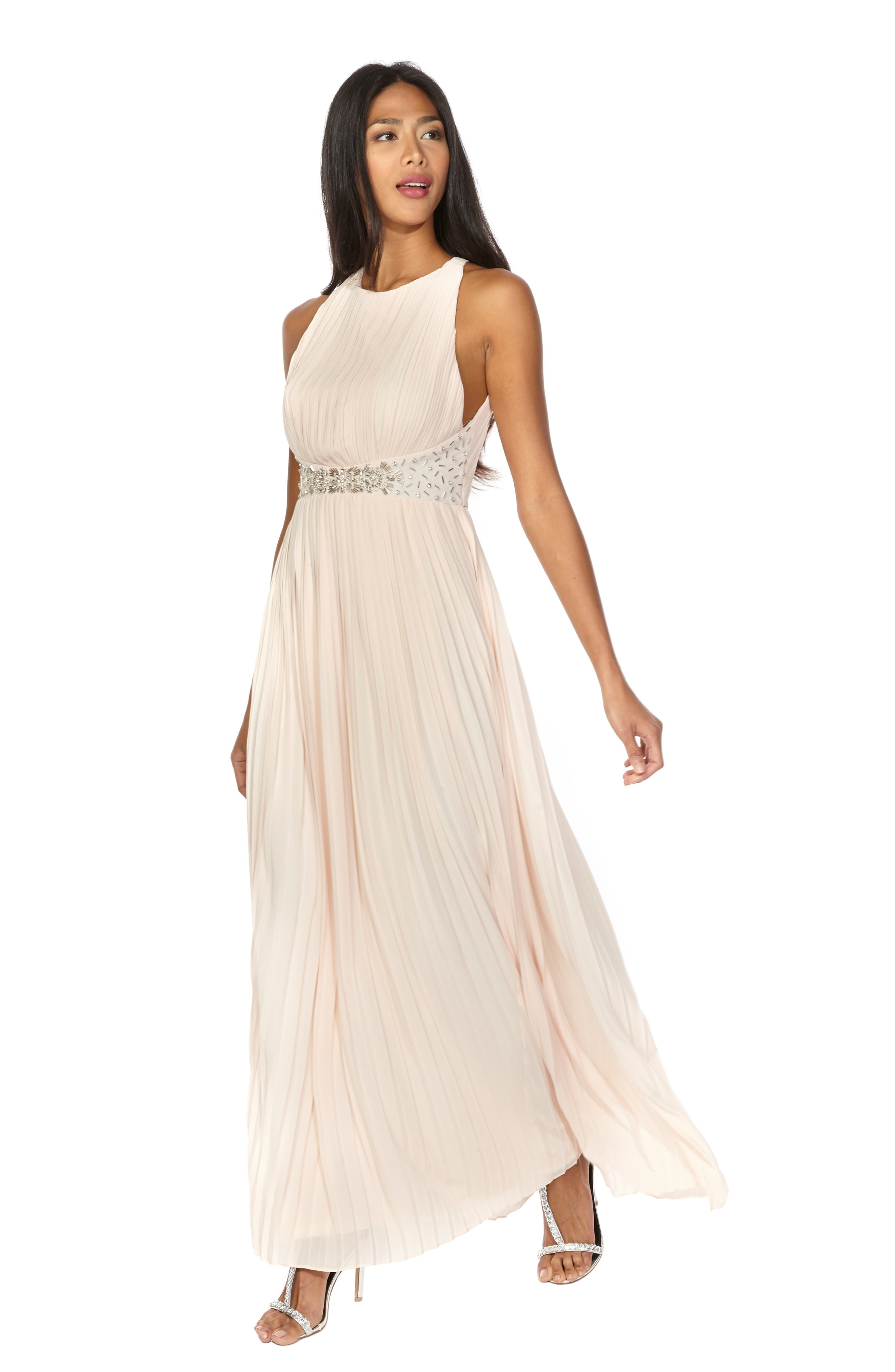 TFNC, Adora Beaded Waist Gown, Alternate thumbnail 5, color, NUDE
