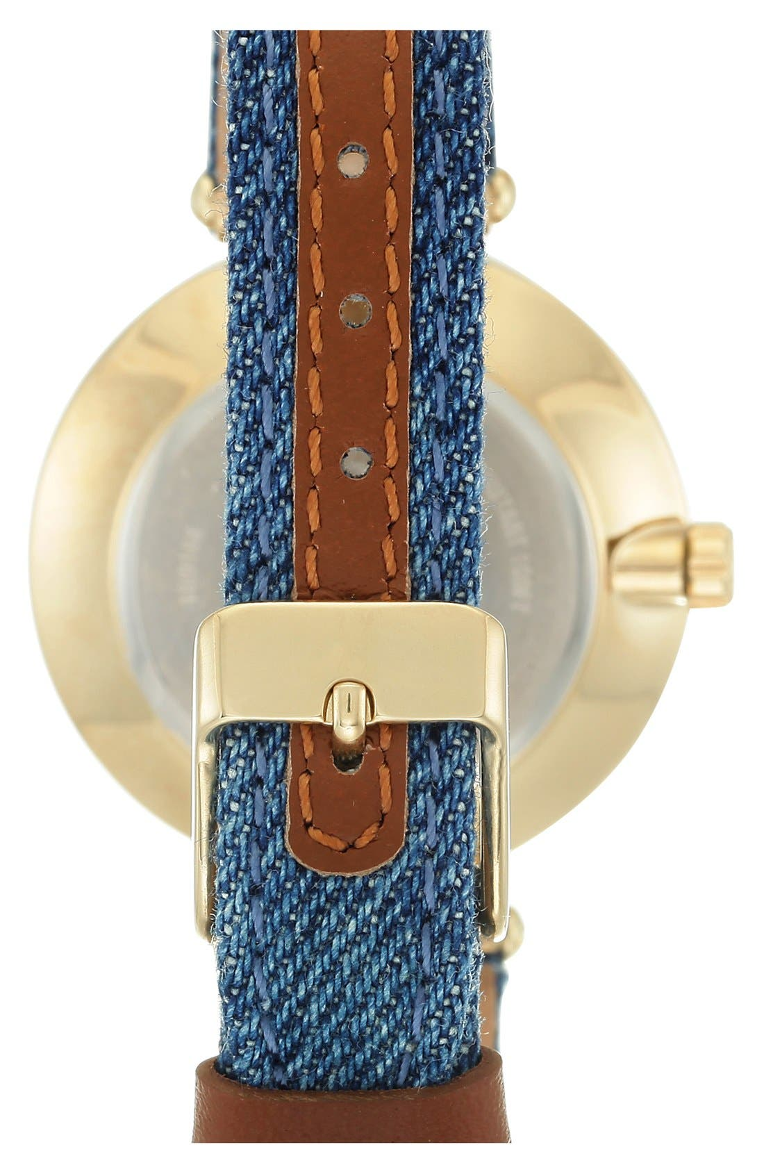 ANNE KLEIN, Denim Strap Watch, 34mm, Alternate thumbnail 2, color, 400