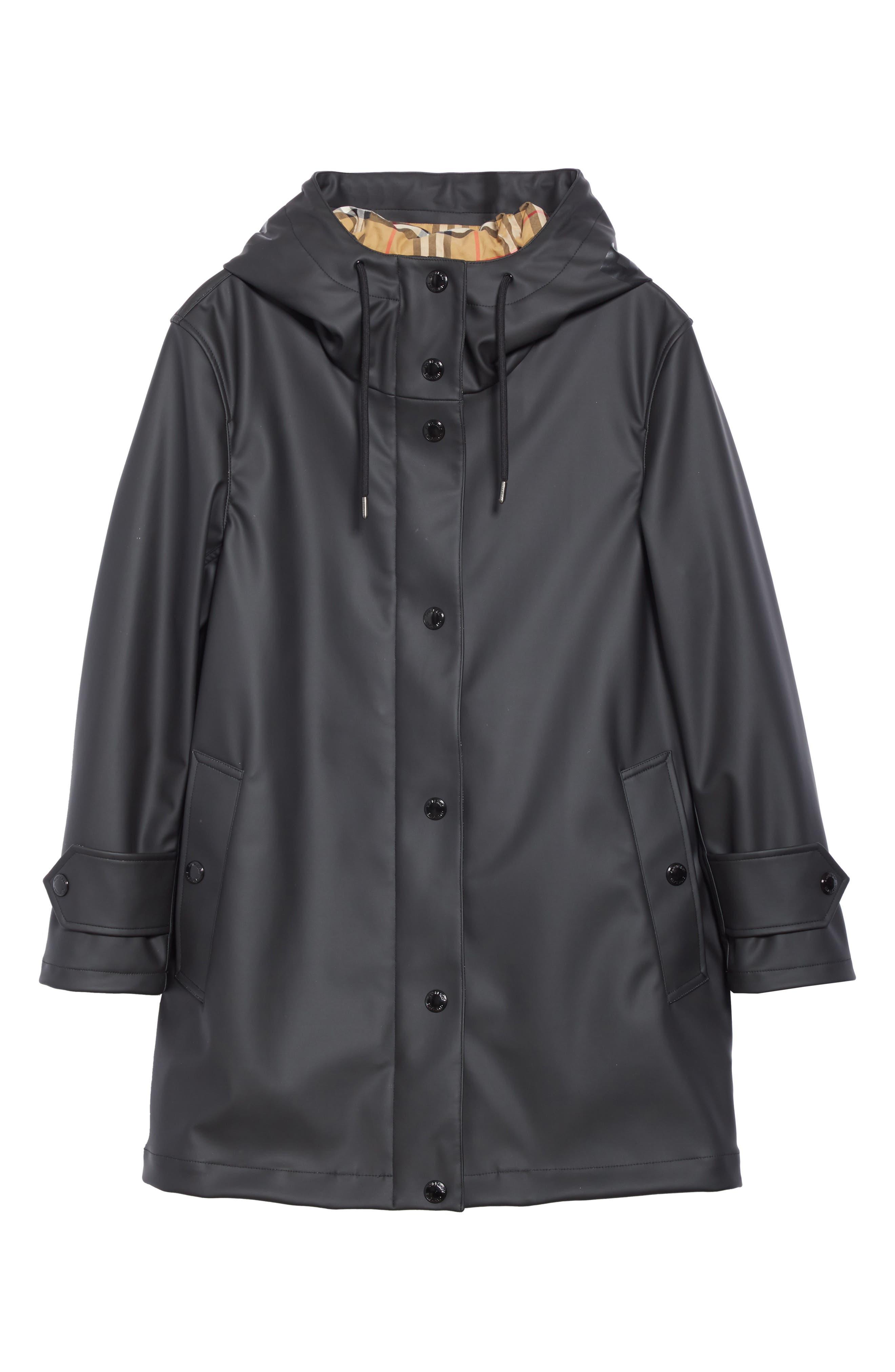 BURBERRY, Hartlebury Coated Rain Coat, Alternate thumbnail 5, color, BLACK / WHITE